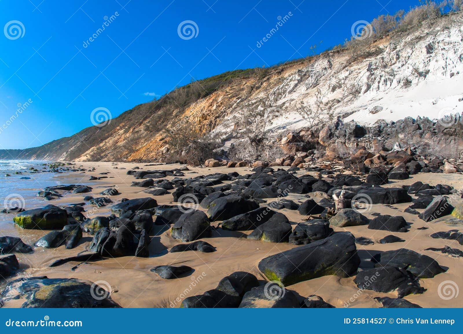 contrastes de flanc de coteau de sable de roches de plage. Black Bedroom Furniture Sets. Home Design Ideas