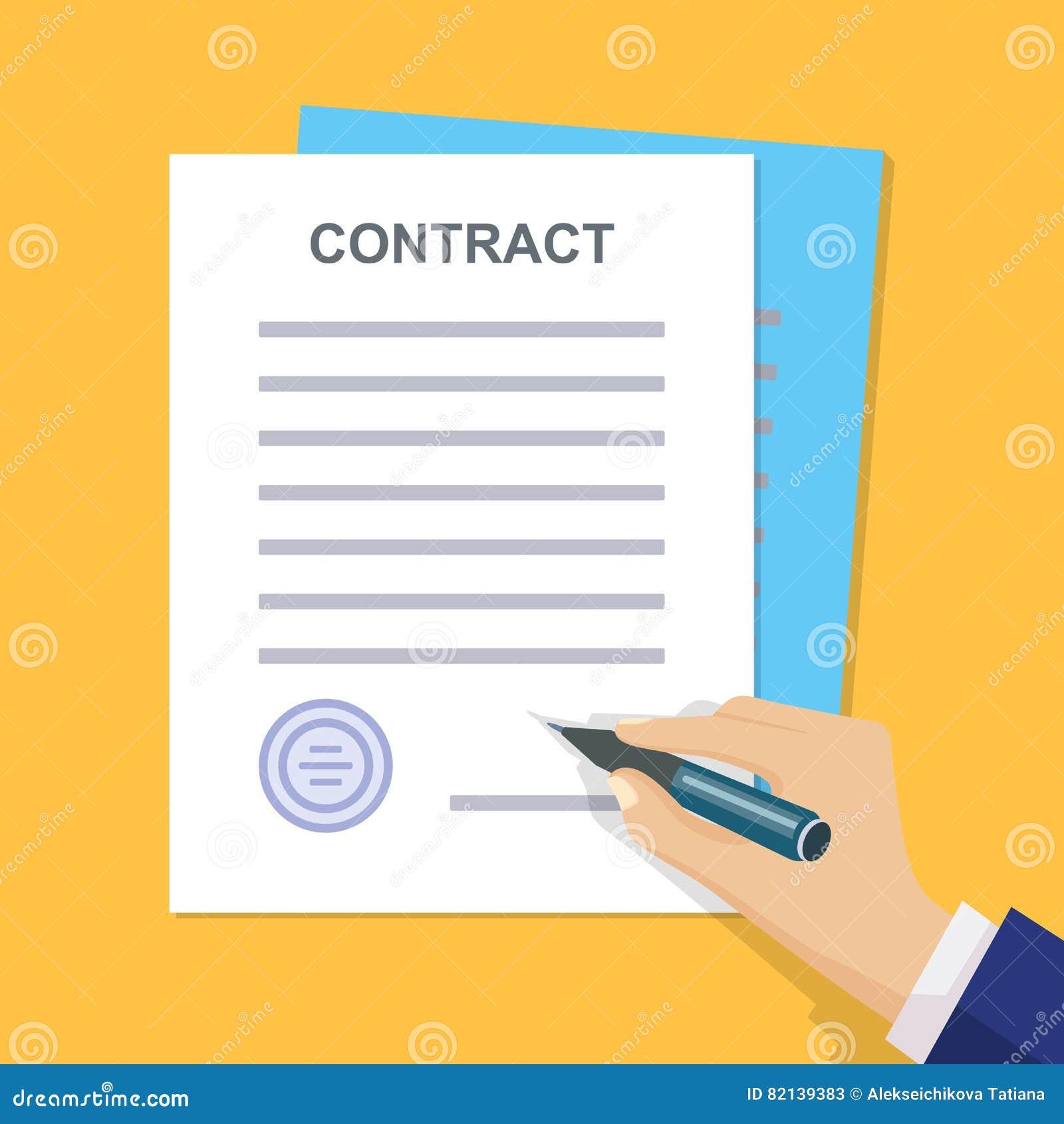 Contrat d affaires avec la signature Style plat Illuatratio de vecteur