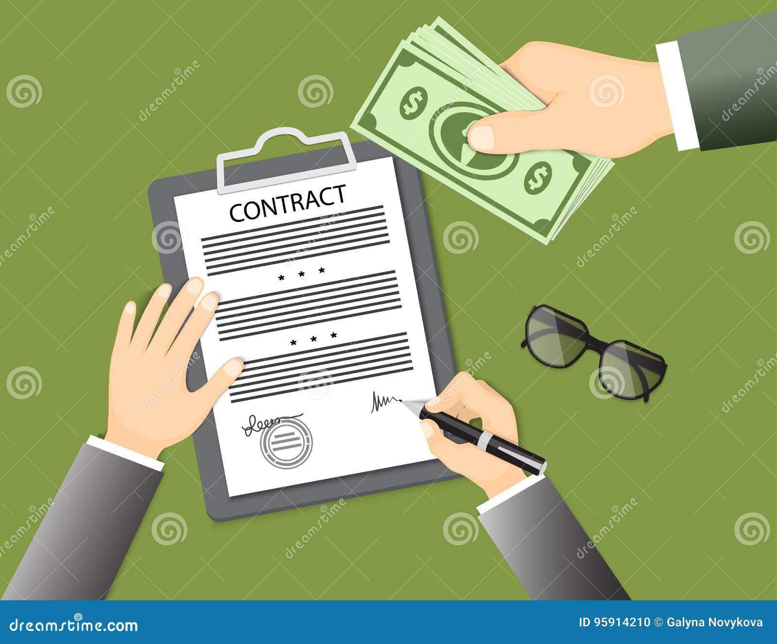 Contrat de signature avec les verres et la main donnant des billets de banque