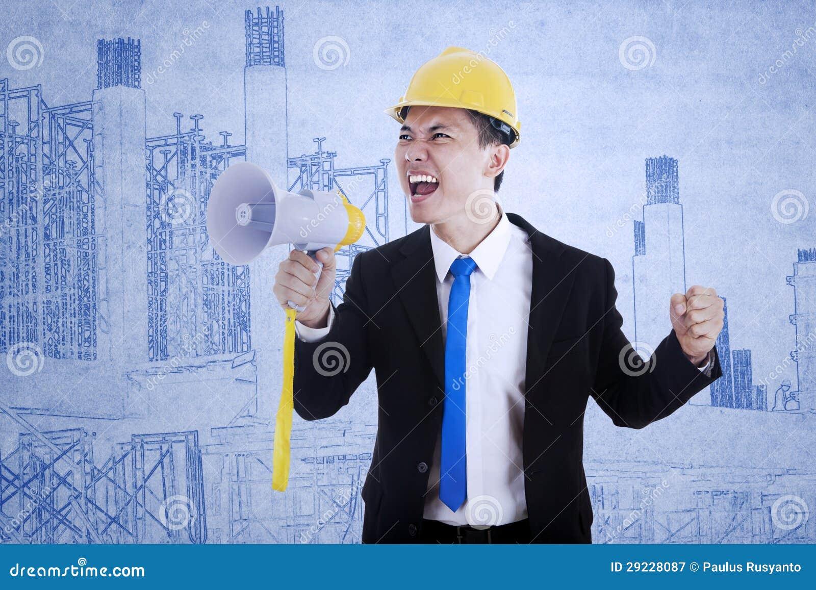 Download Contratante Do Negócio Que Usa O Orador Imagem de Stock - Imagem de hardhat, homem: 29228087