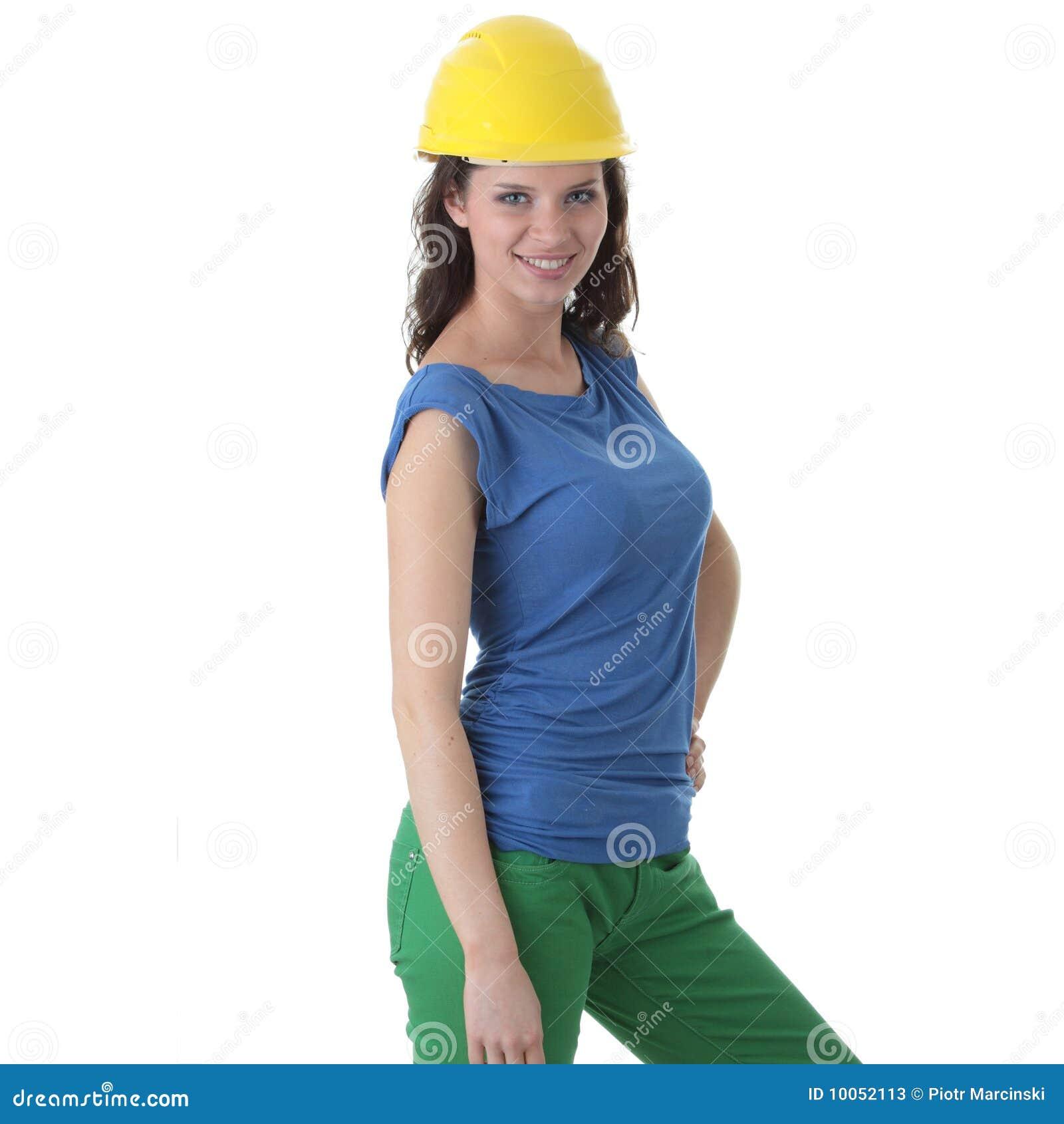 Contratante  sexy  do trabalhador da construção da mulher nova