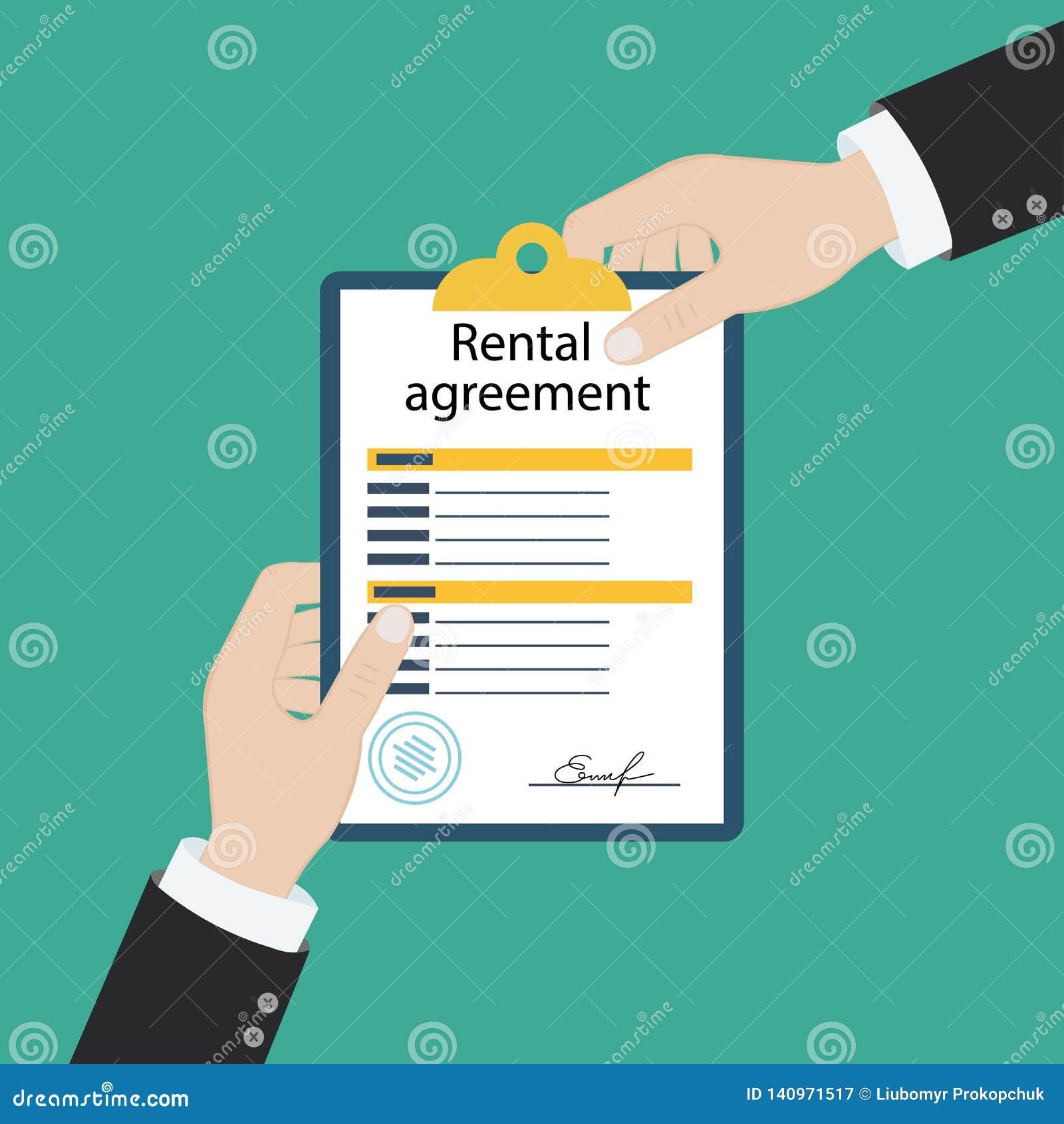 Contratto della forma di accordo locativo Documento di sign Progettazione piana dell illustrazione di vettore Isolato su fondo