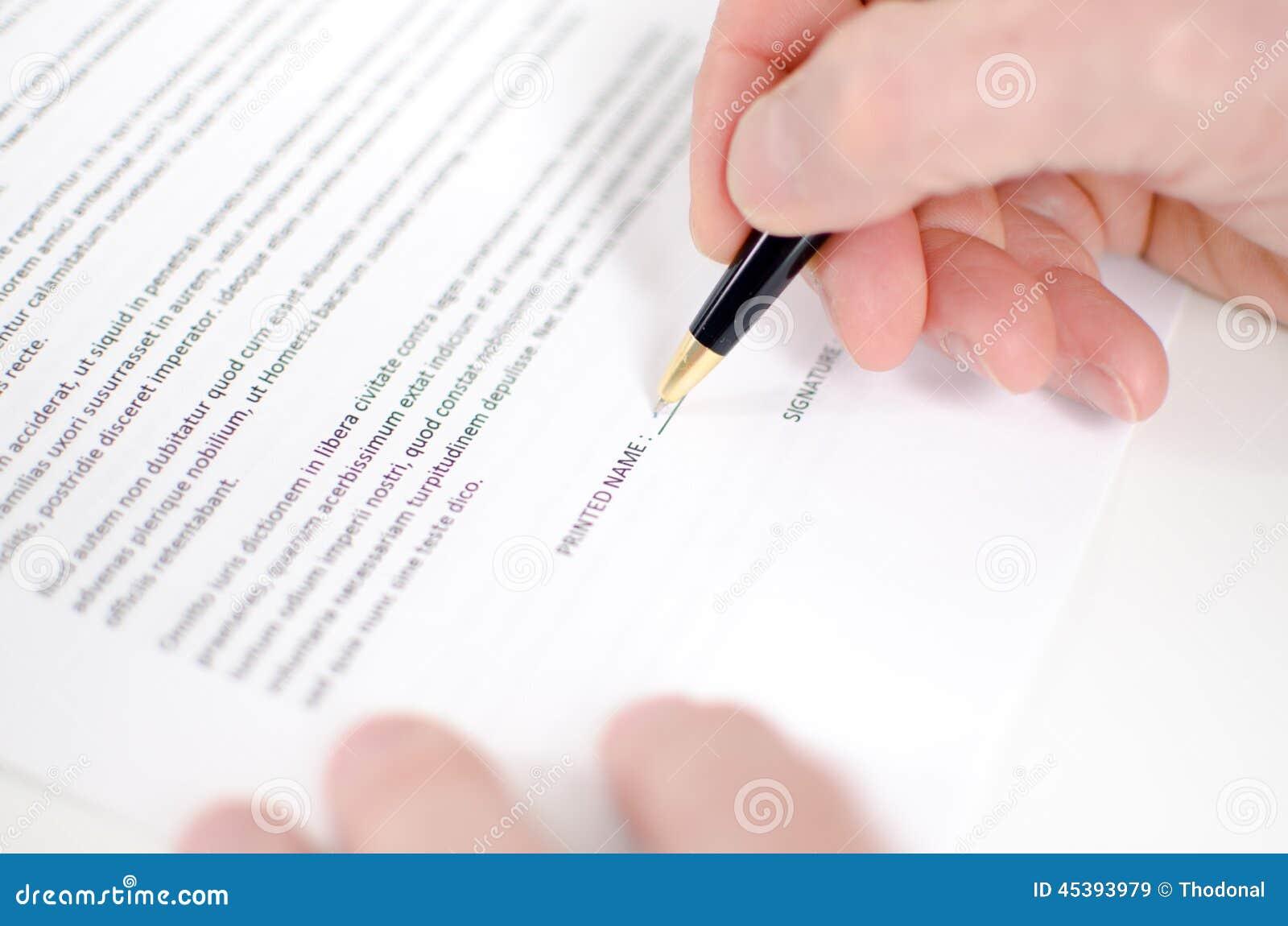 Contratto di firma della mano