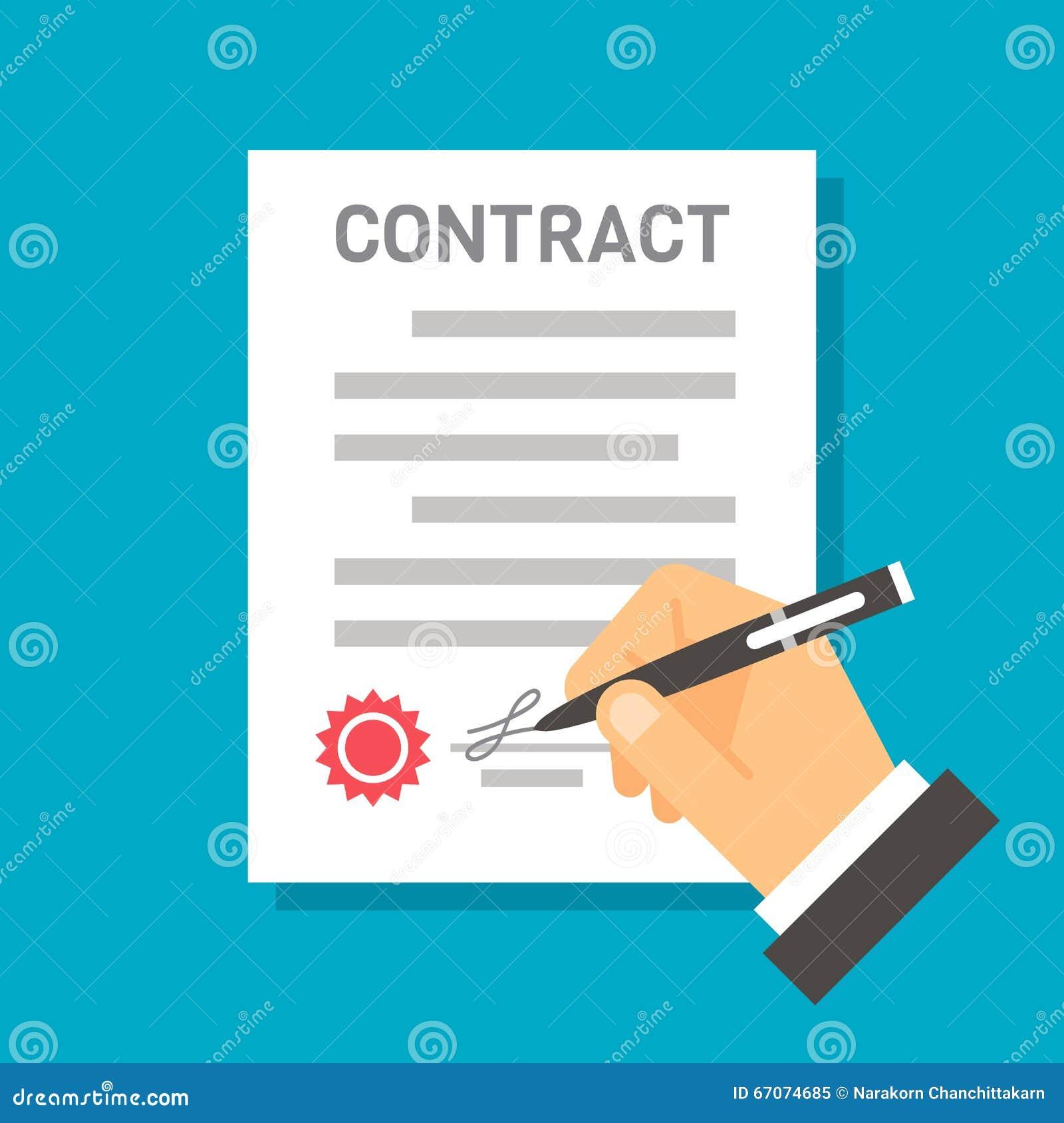 Contratto Di Firma Della Mano Piana Di Progettazione ...