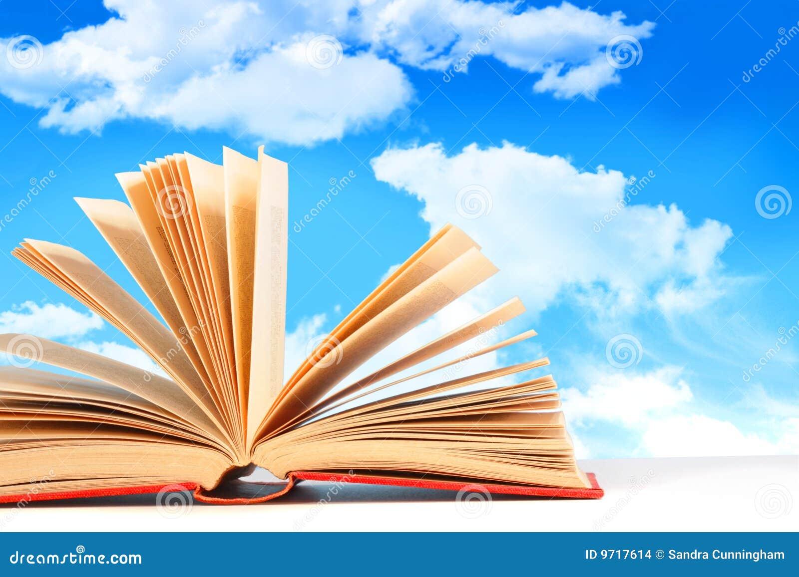 Contre Le Ciel Ouvert De Livre Bleu Photo Stock Image Du