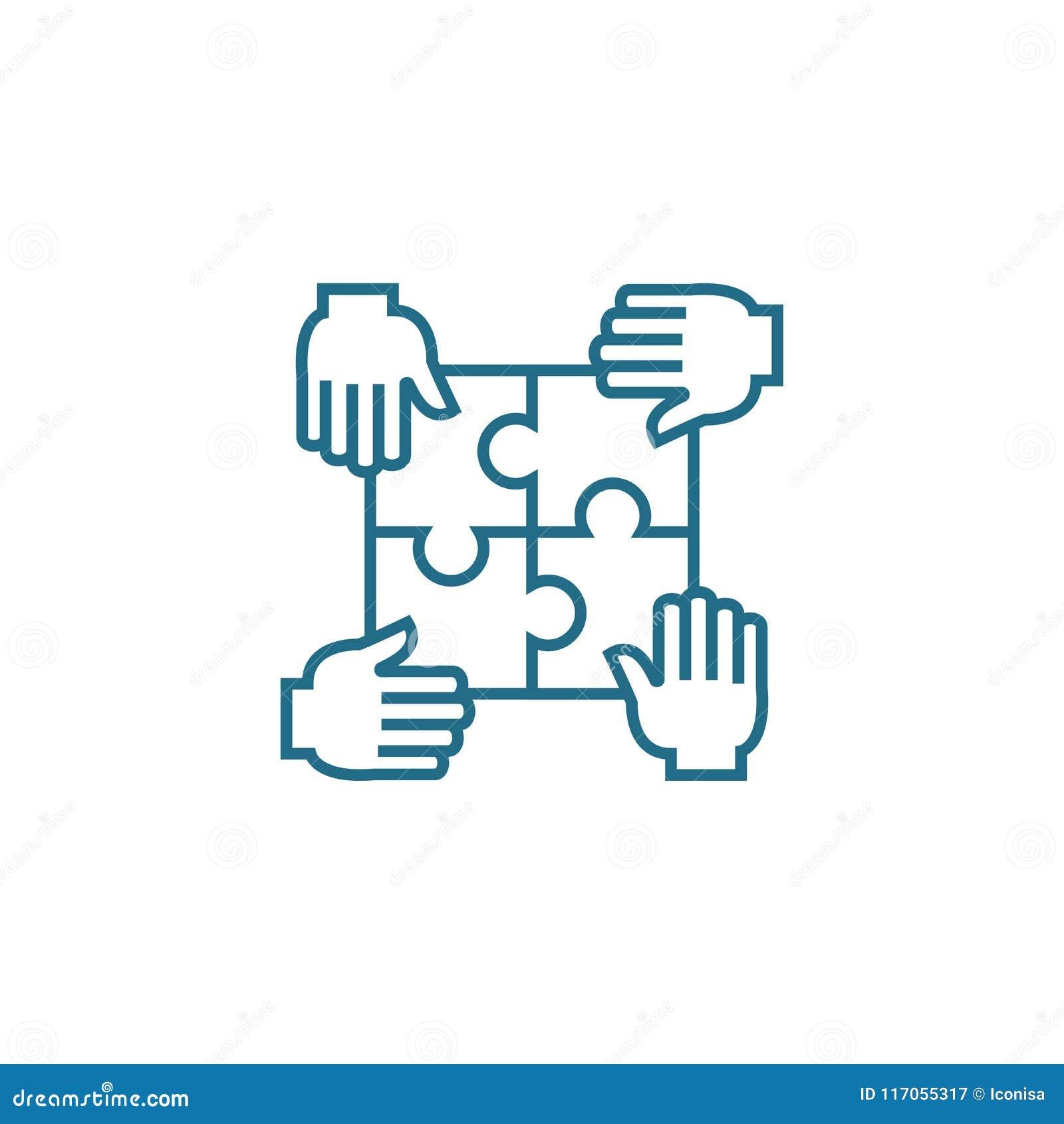 Contribuição para o conceito linear do ícone da causa comum Contribuição para a linha sinal da causa comum do vetor, símbolo