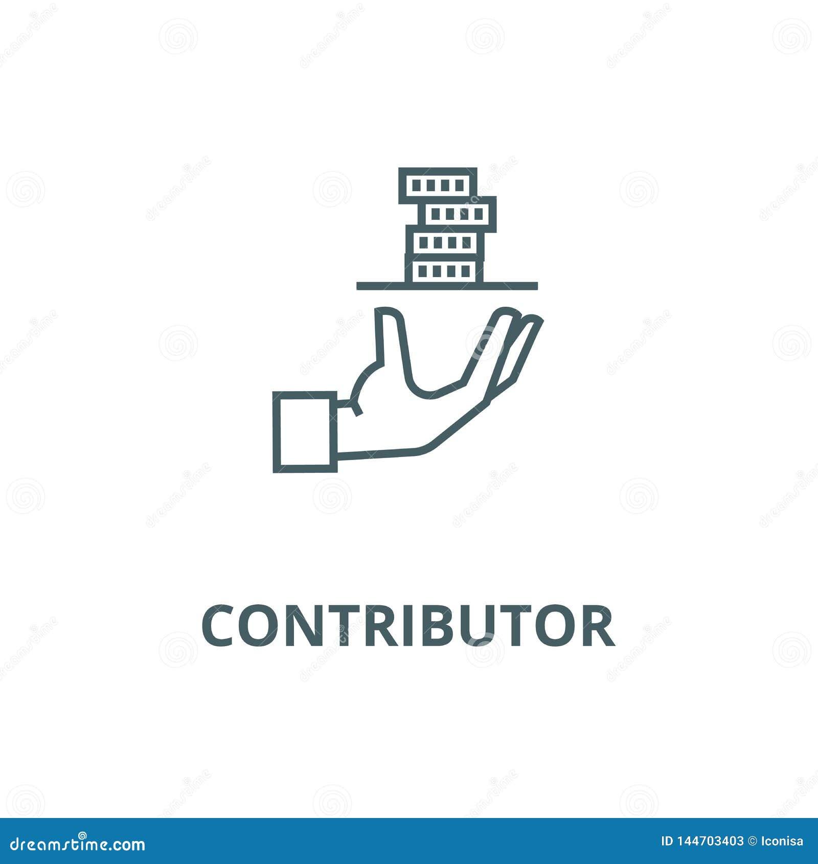 Contribuidor, mano del servicio con la línea icono, vector del dinero Contribuidor, mano del servicio con la muestra del esquema