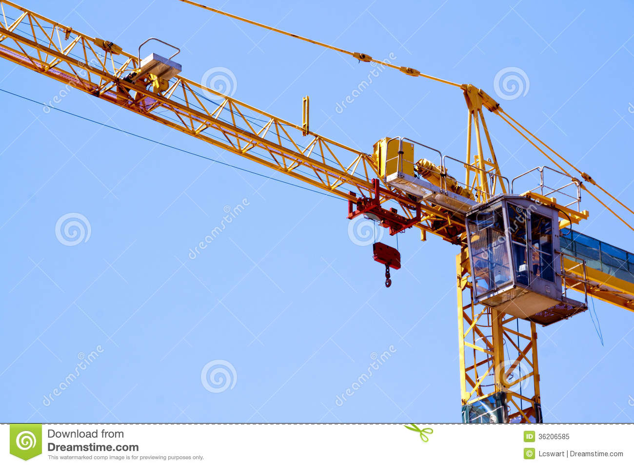 Construction Lift Arm : Control cabin arm and pulleys on high lift crane stock