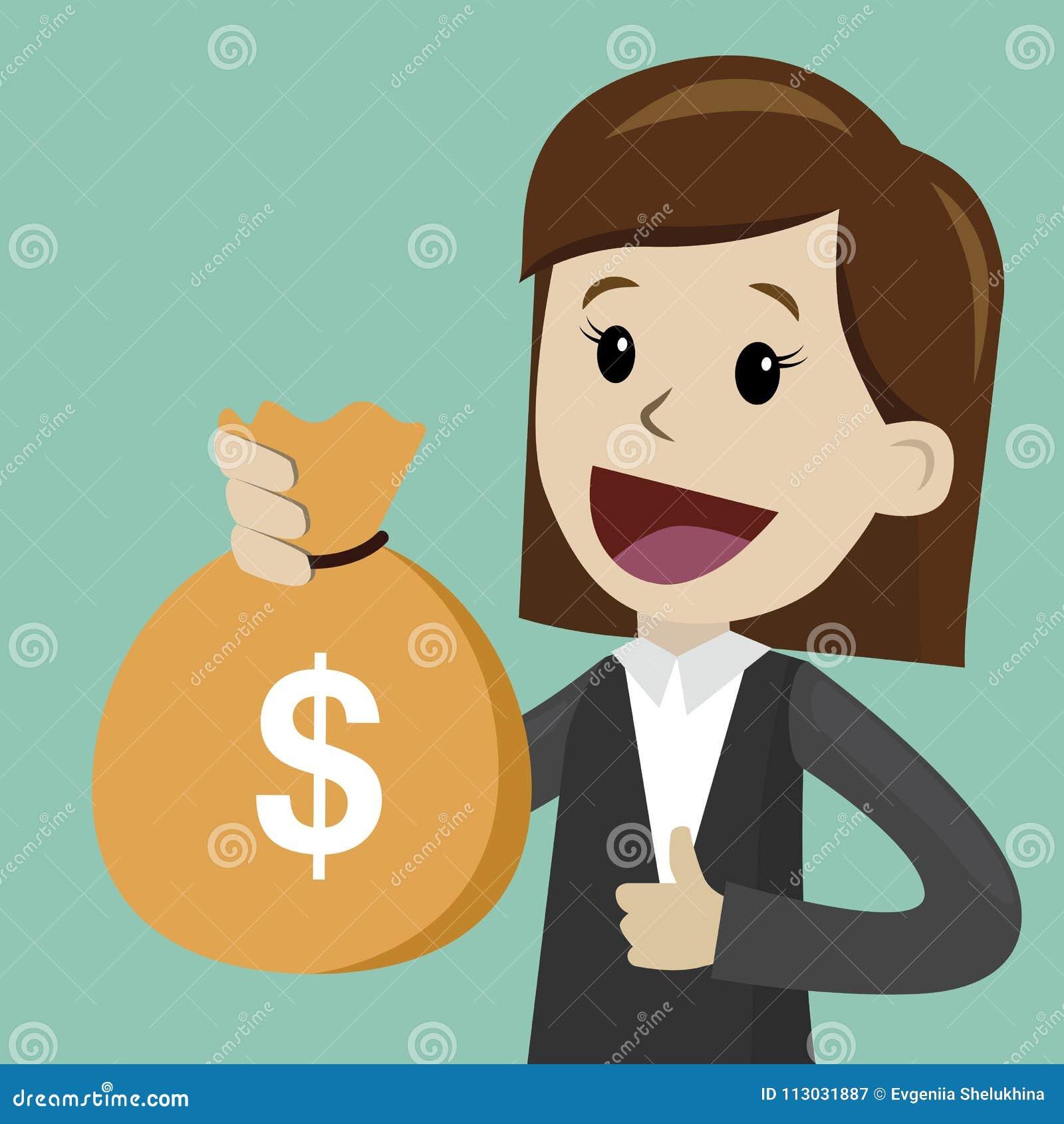 Control de Lucky Businesswoman o del encargado un bolso del dinero El hombre de negocios tiene un beneficio