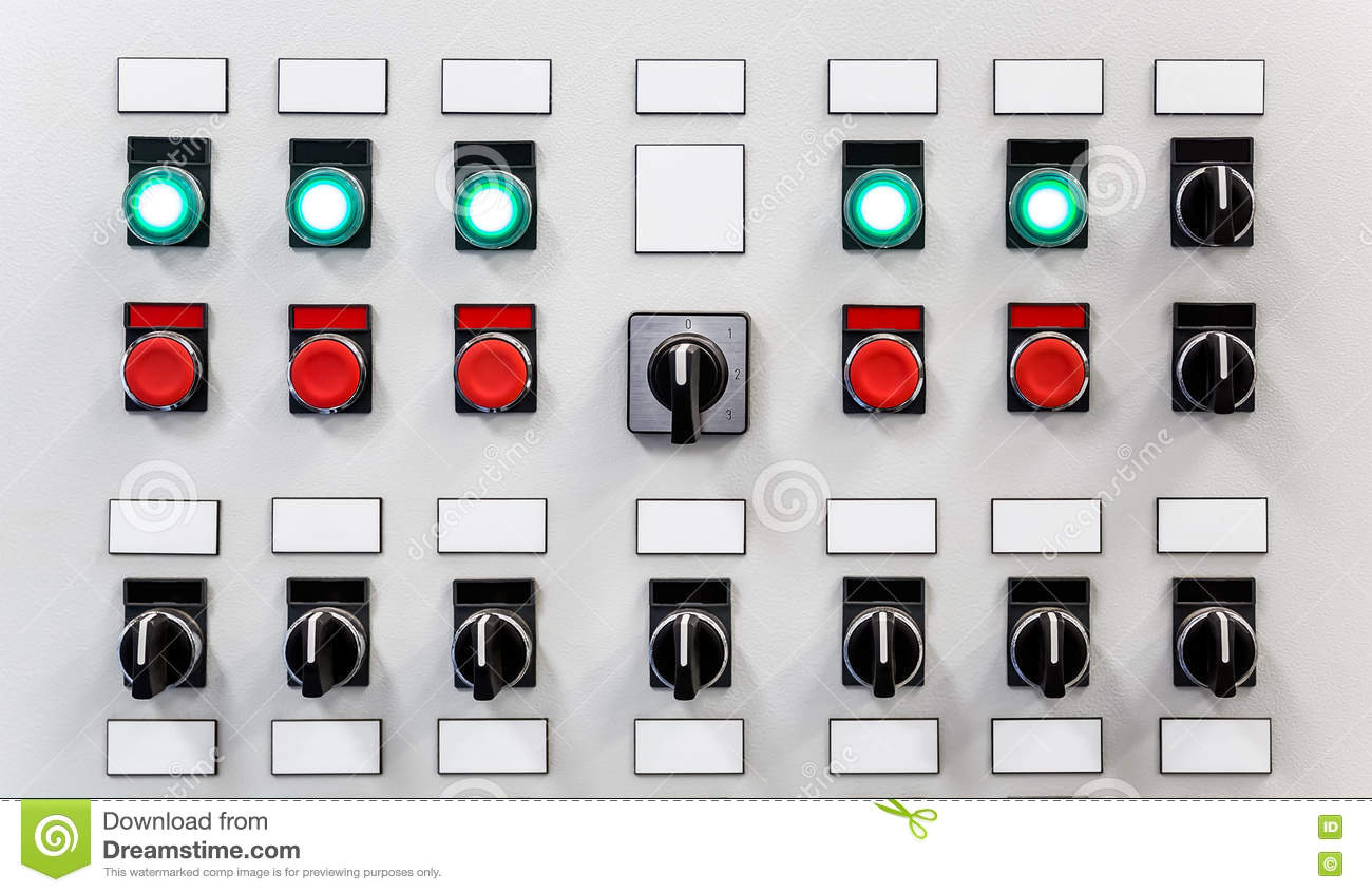 Control Panel Of Industrial Equipment With Name Plates, Switches And ...
