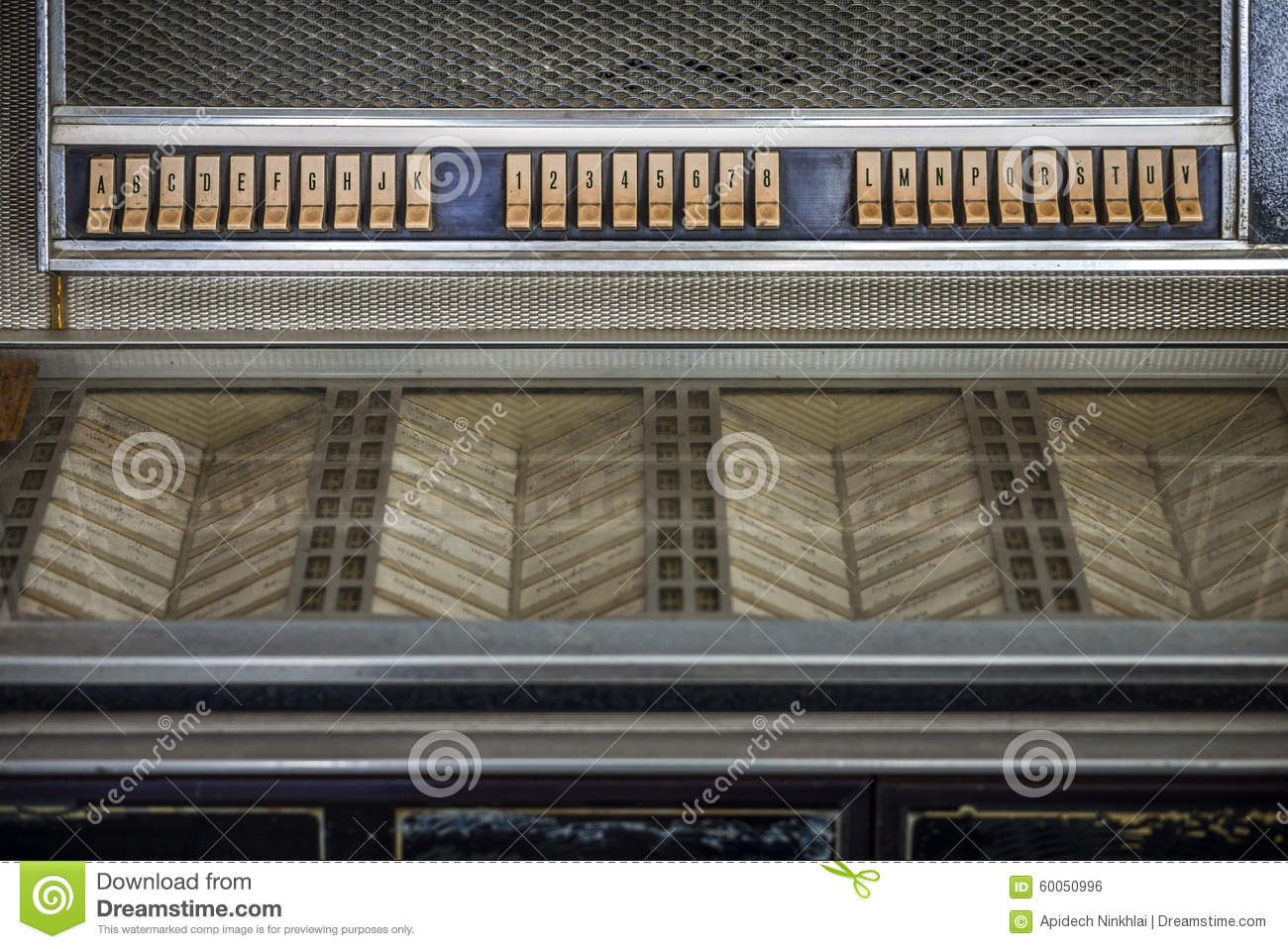 Control Panel Of Old Classic Jukebox Stock Photo - Image of