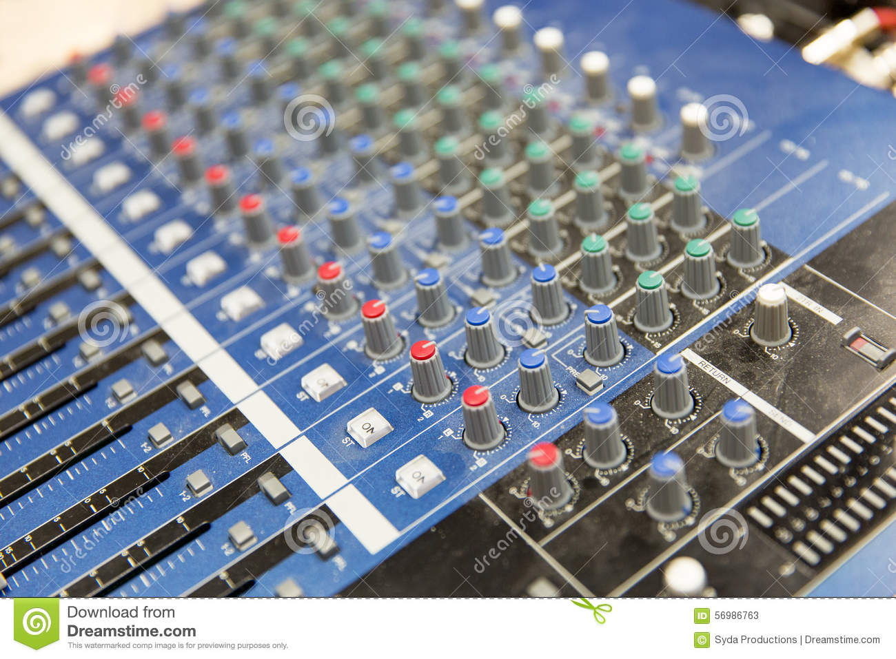 Tractor Technology Panel : Control panel at recording studio or radio station stock