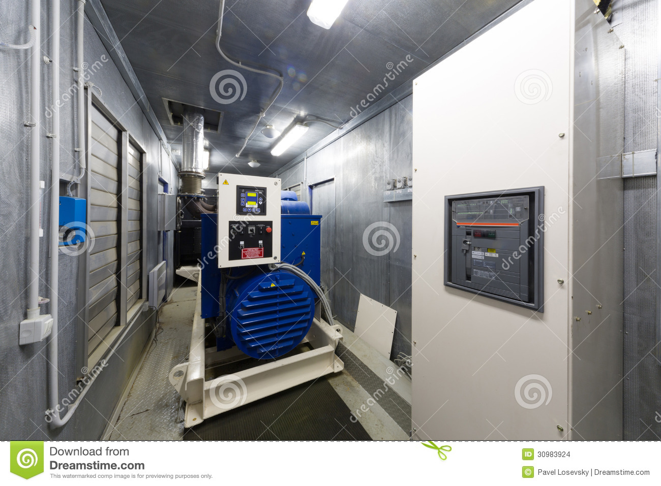 Control room diesel generator for backup power stock photo for Room layout generator
