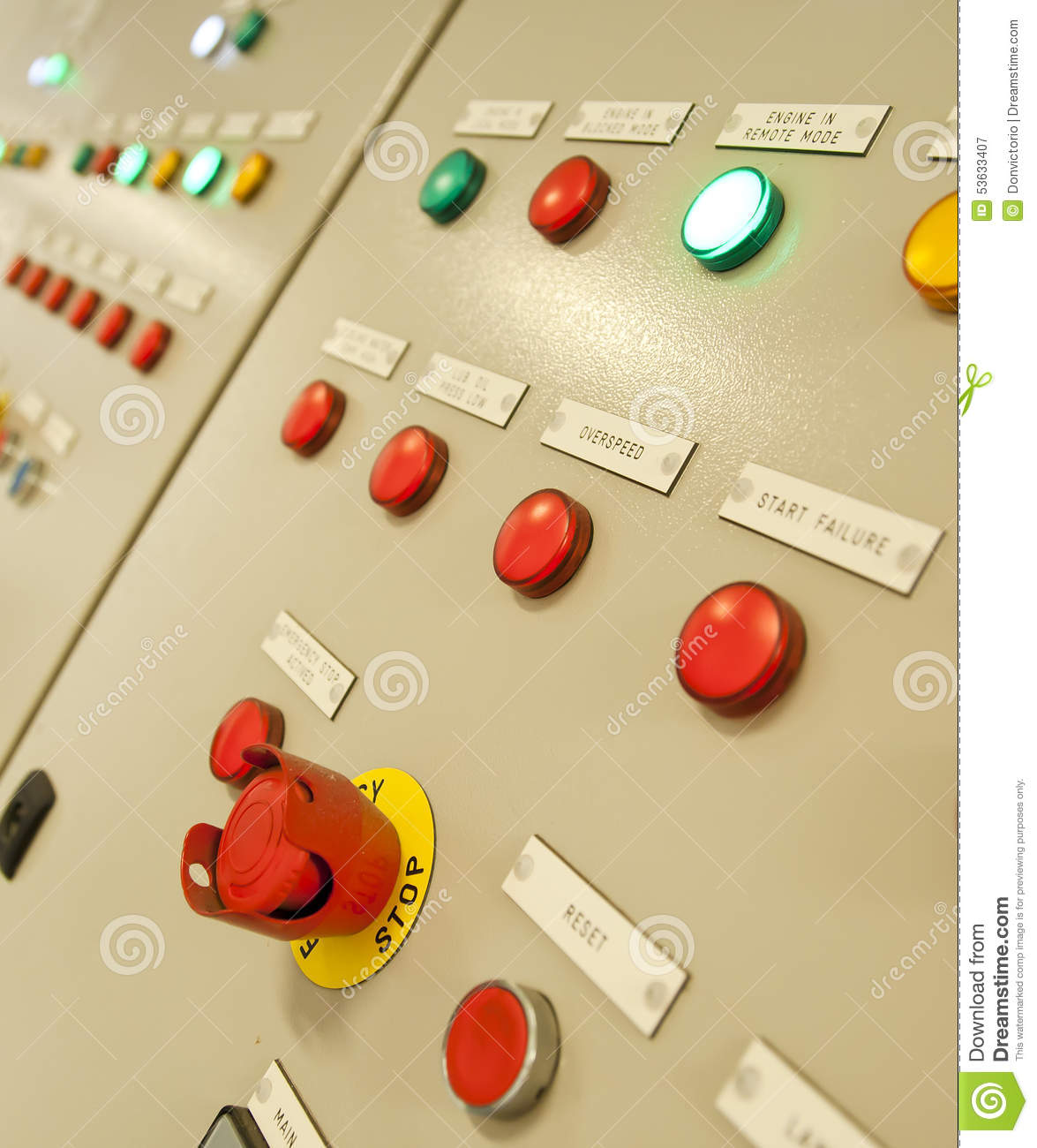 Control Room Of A Extra Large Cargo Ship. Stock Image