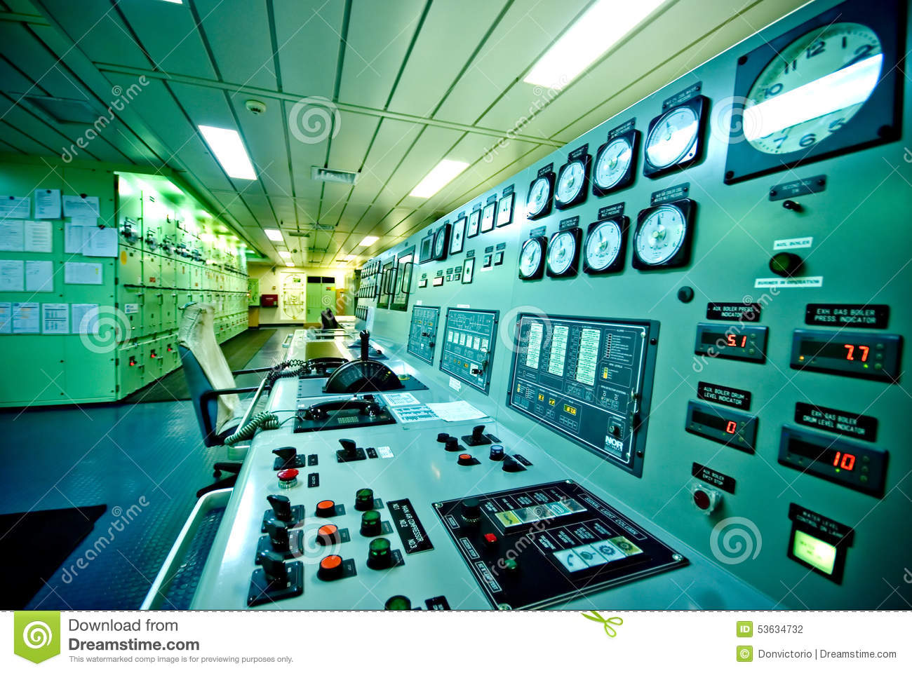 Engine Control Console : Engine room console control panel on tanker royalty free