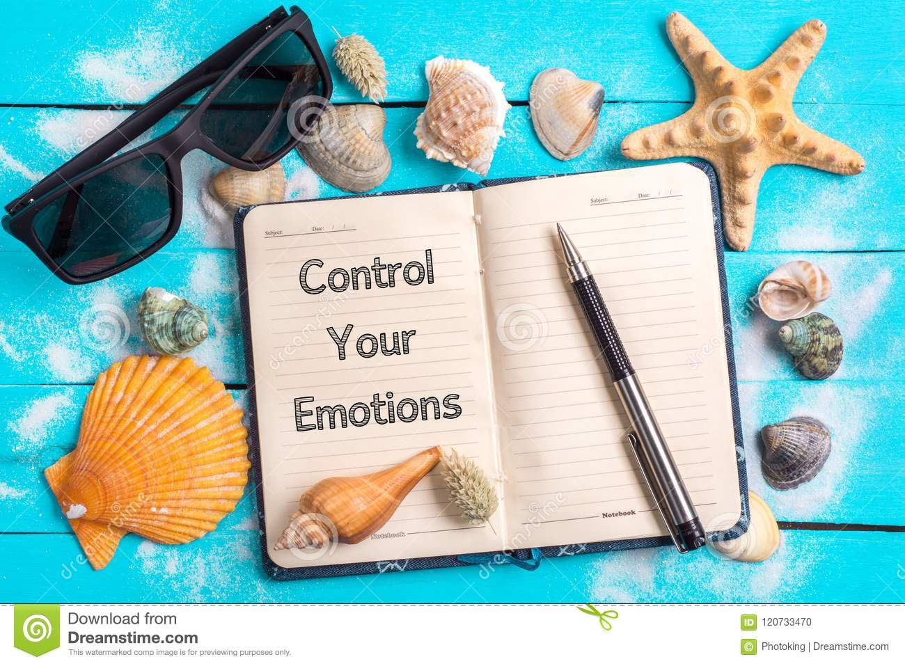 Control your emotions text in notebook with Few Marine Items