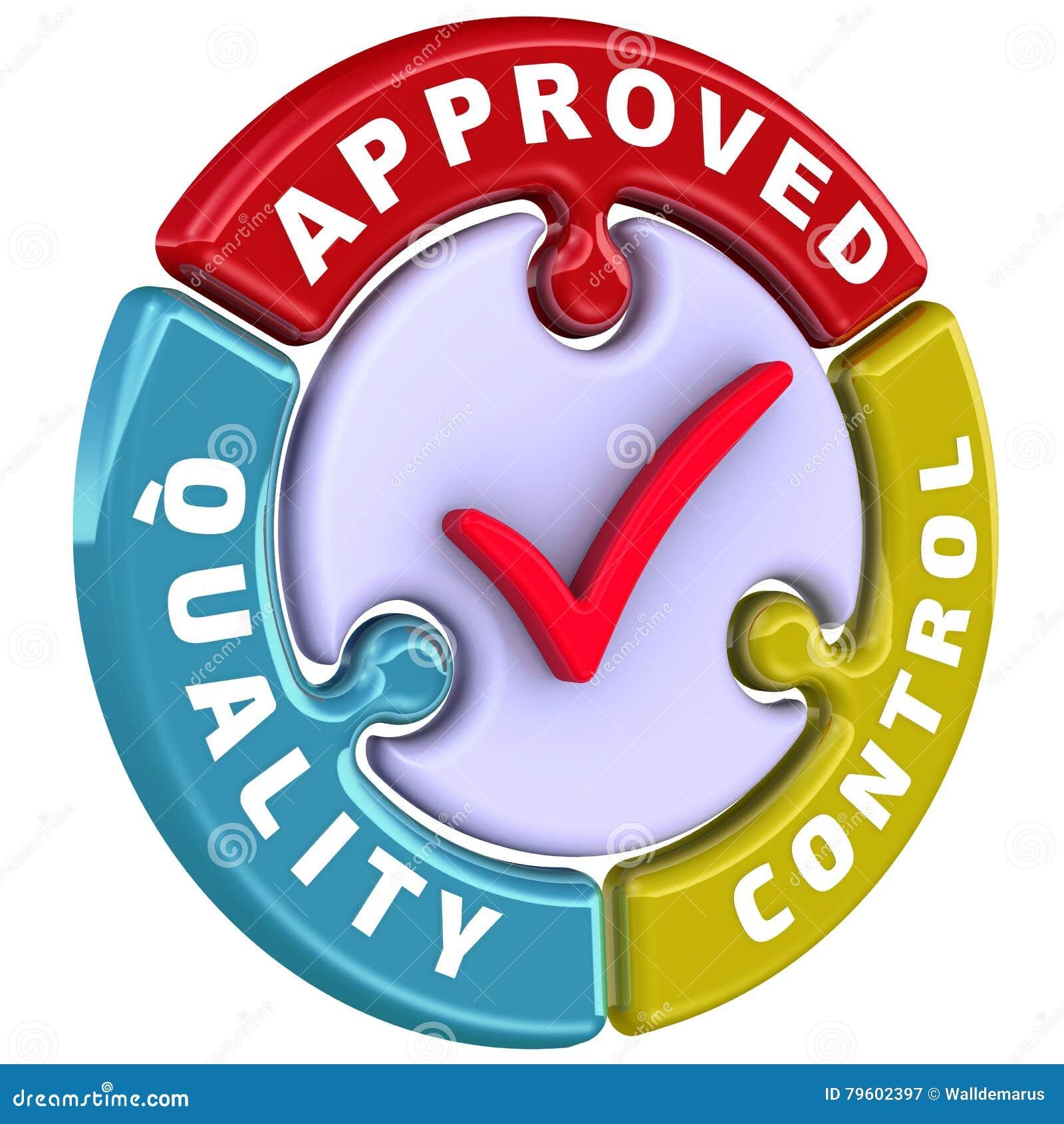 Controle da qualidade aprovado A marca de verificação sob a forma de um enigma