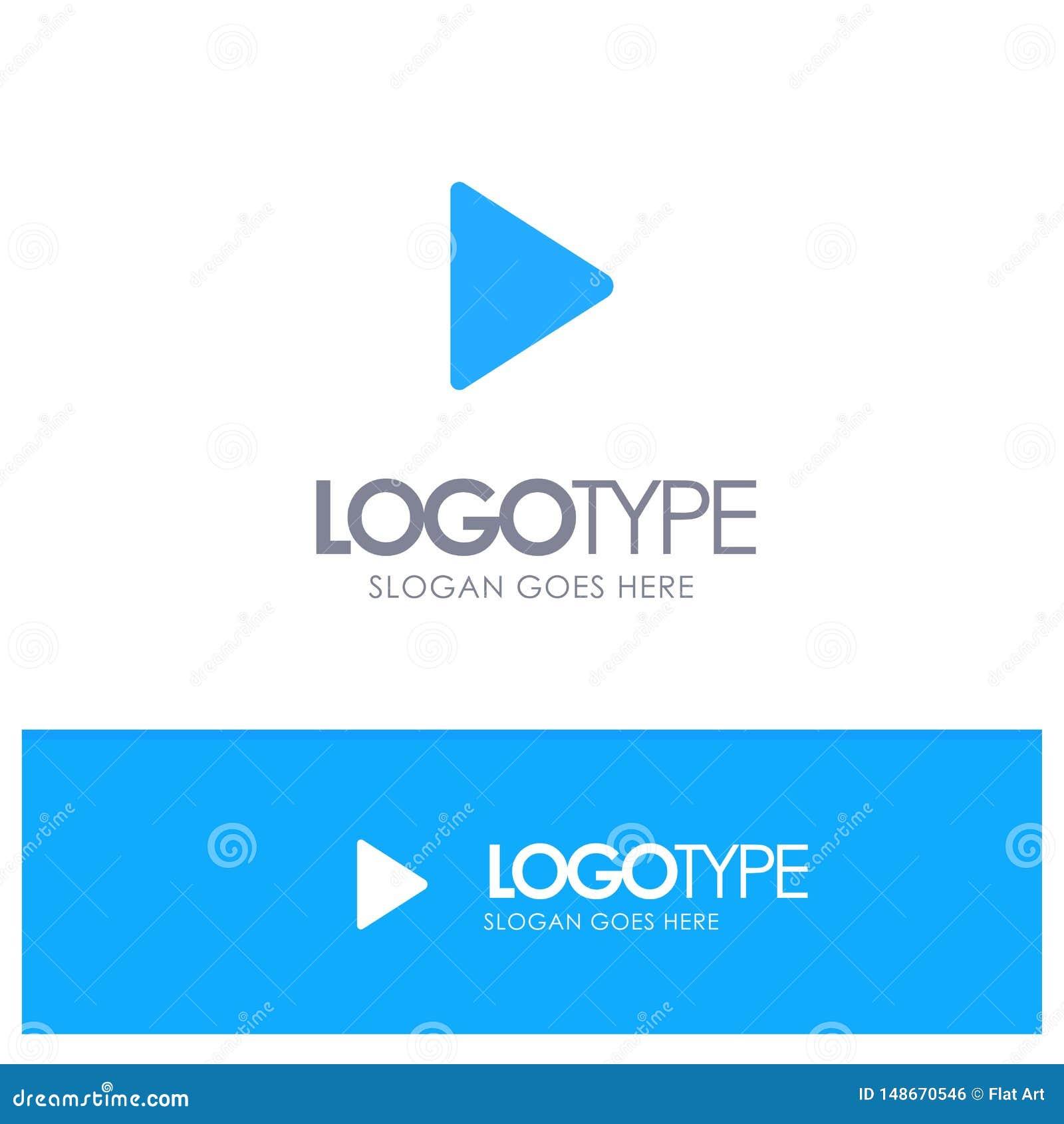 Controle, meio, jogo, logotipo contínuo azul video com lugar para o tagline