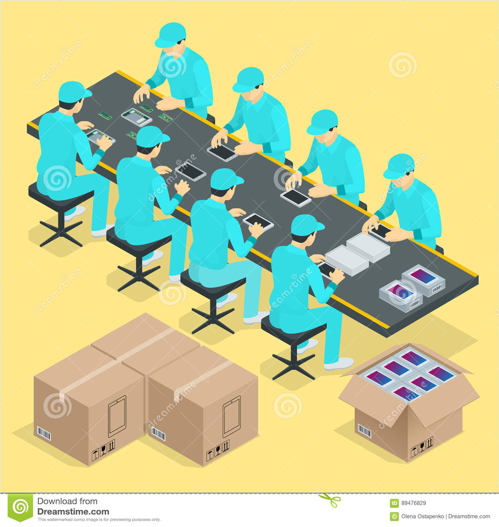 Controleerde de fabrieks Handlopende band met de werken en transportband isometrische de affichevector van het productieproces