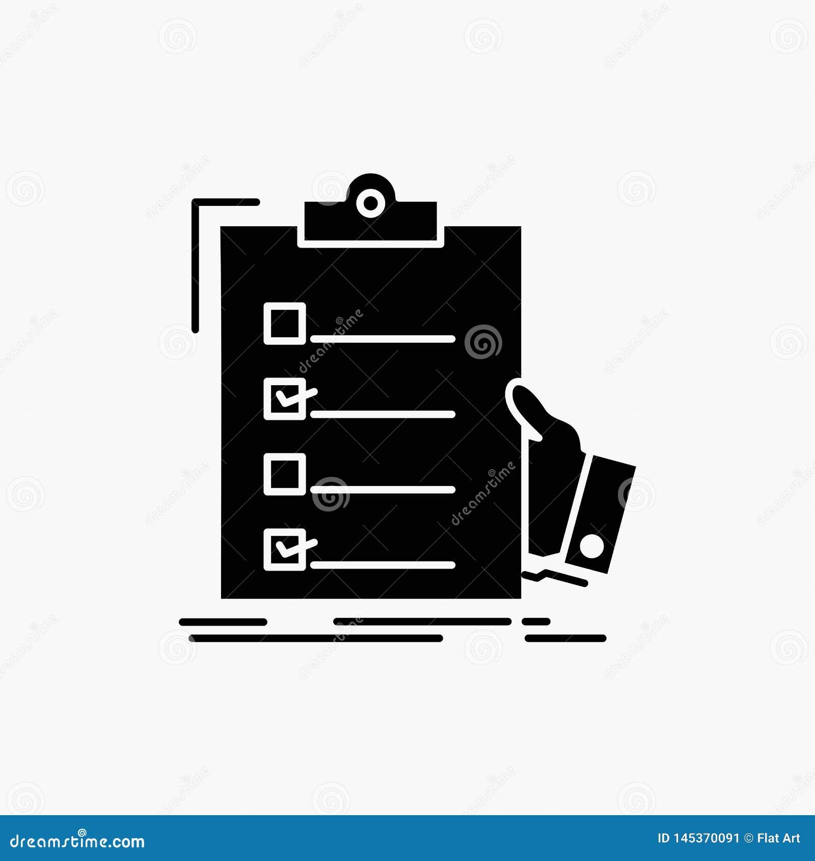 Controlelijst, controle, deskundigheid, lijst, het Pictogram van klembordglyph Vector ge?soleerde illustratie