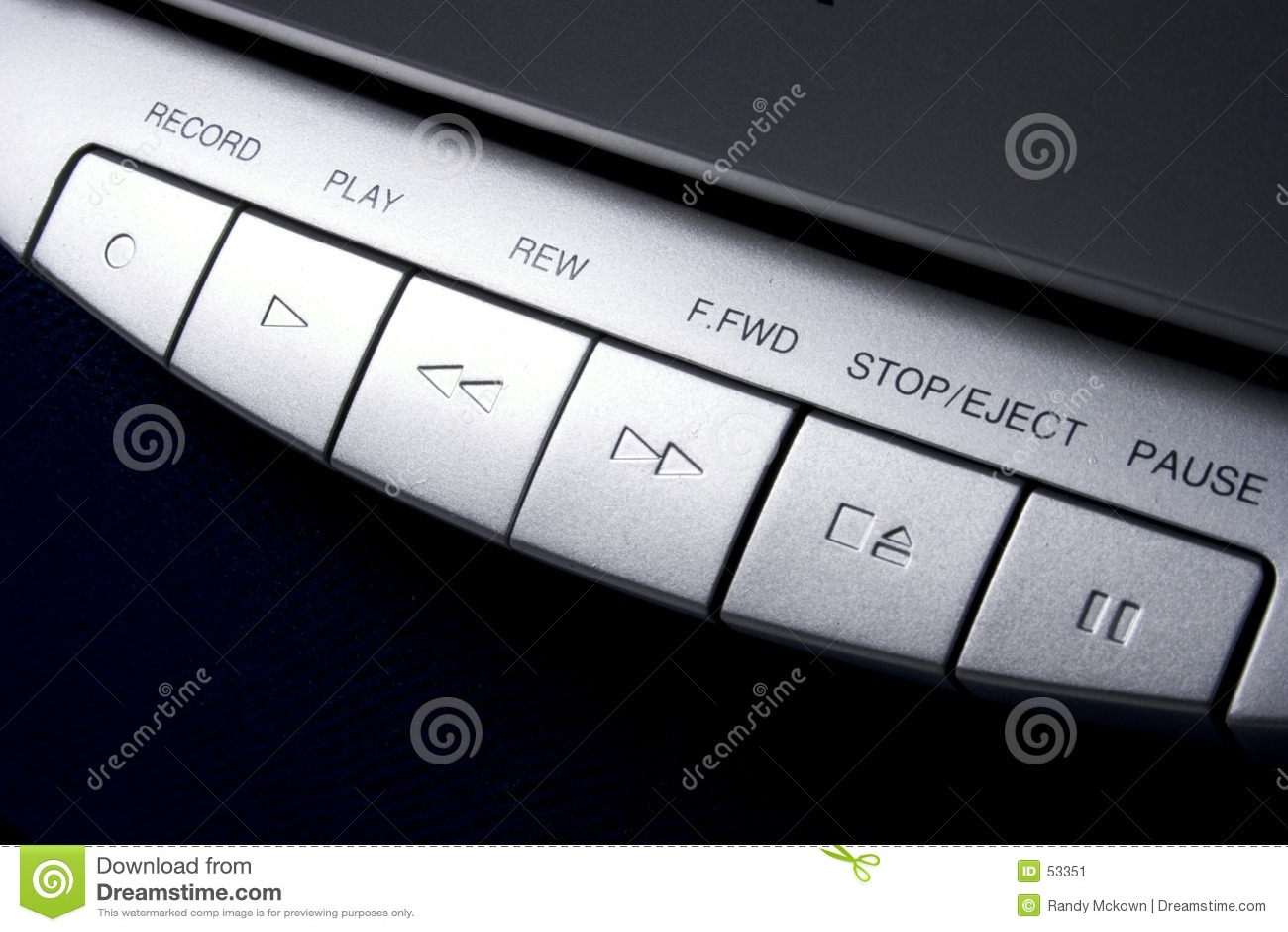 Controles da cassete de banda magnética