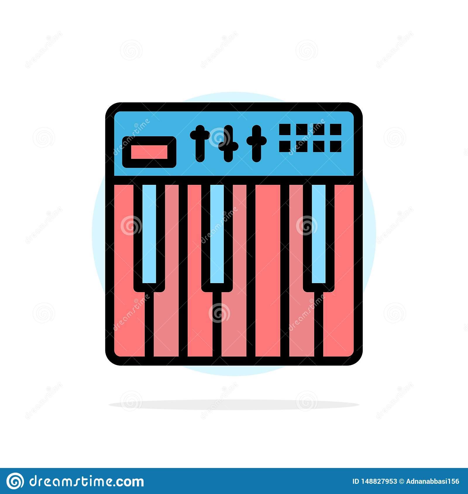 Controller, Hardware, Keyboard, Midi, Music Abstract Circle Background Flat color Icon