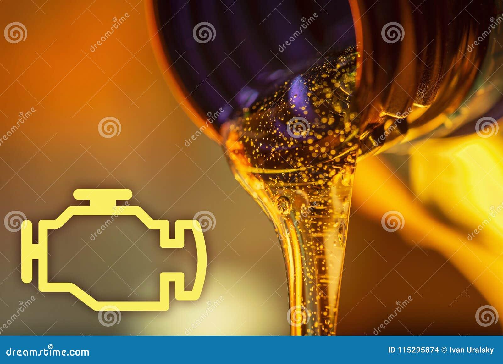 Controlli la lampada del motore e la corrente del liquido dei flussi dell olio di motore del motociclo dal collo del primo piano