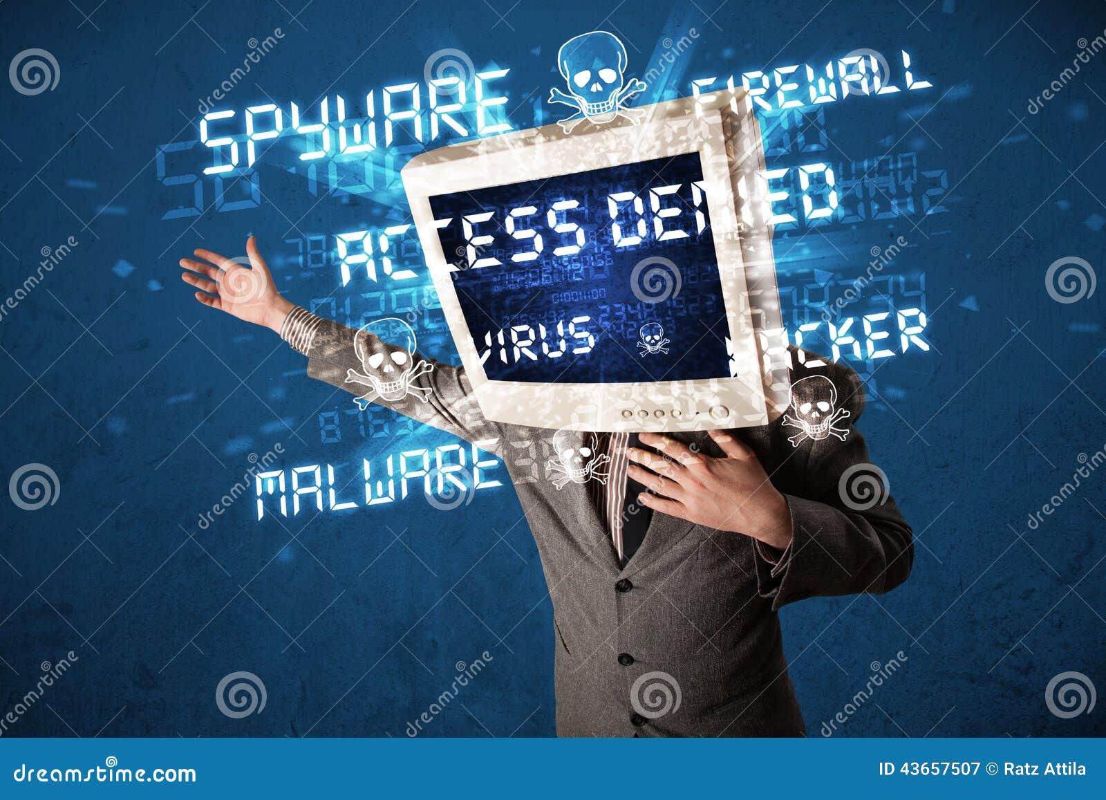 Controlli la persona capa con il tipo del pirata informatico di segni sullo schermo