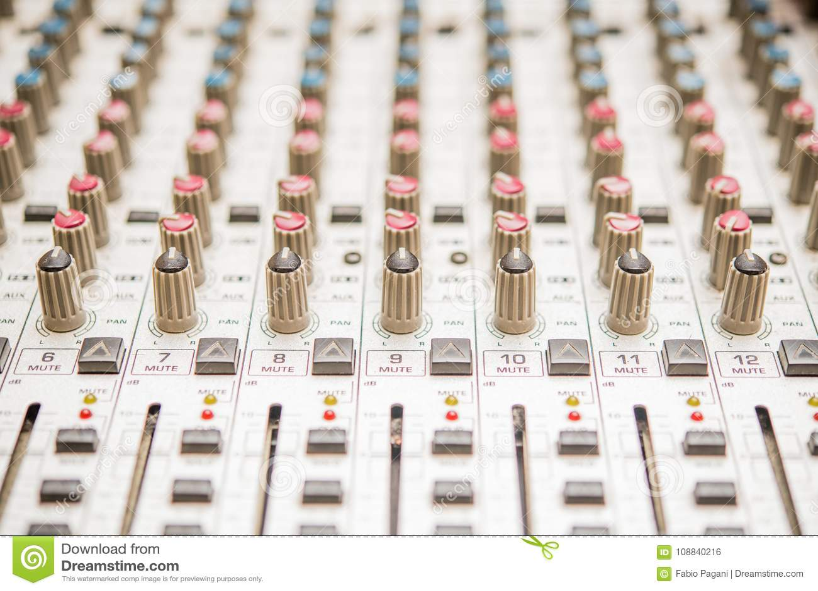 controls detail on recording audio mixer stock photo image of