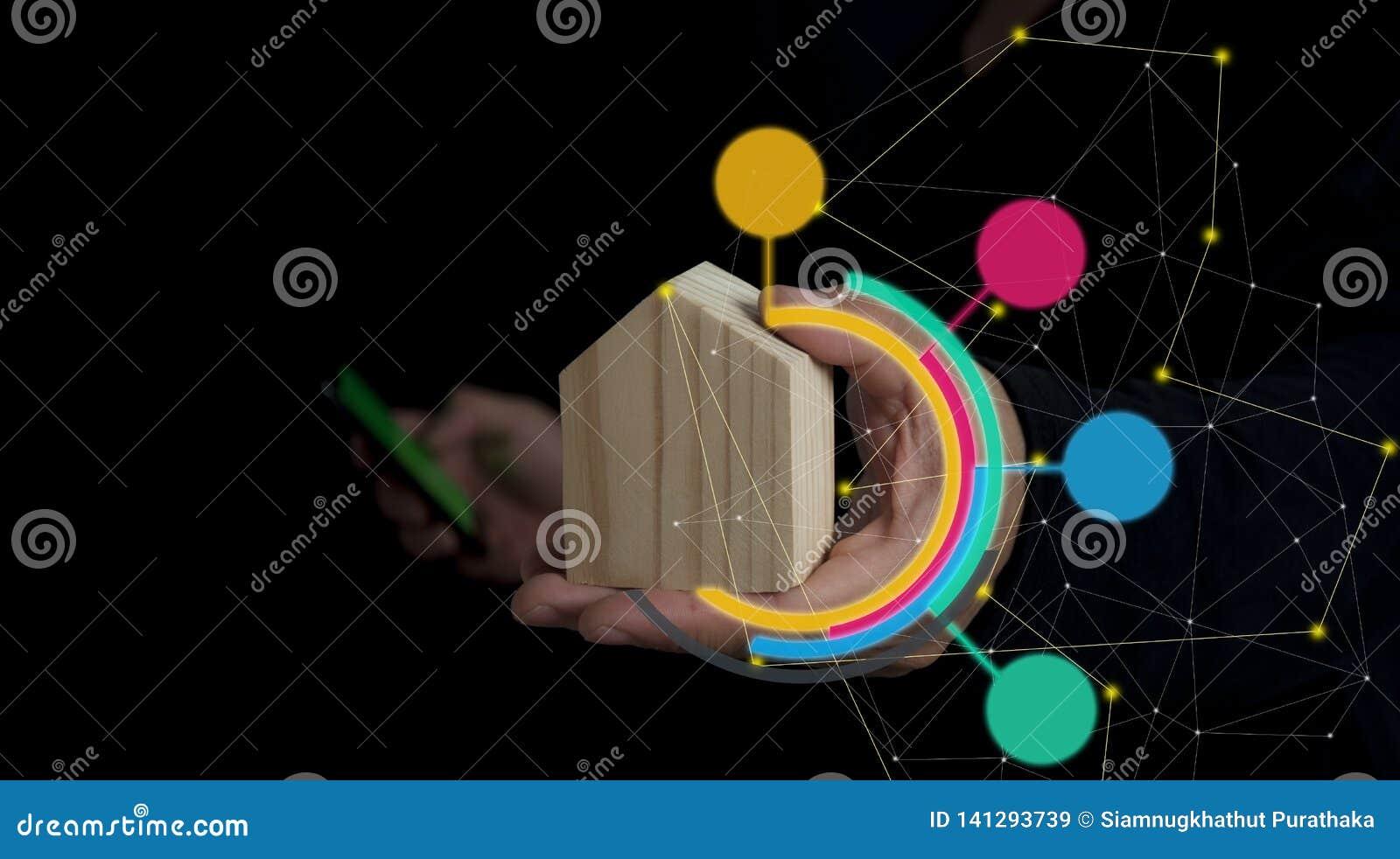 Contruction del concepto, compra, seguridad, casero y financiero elegantes