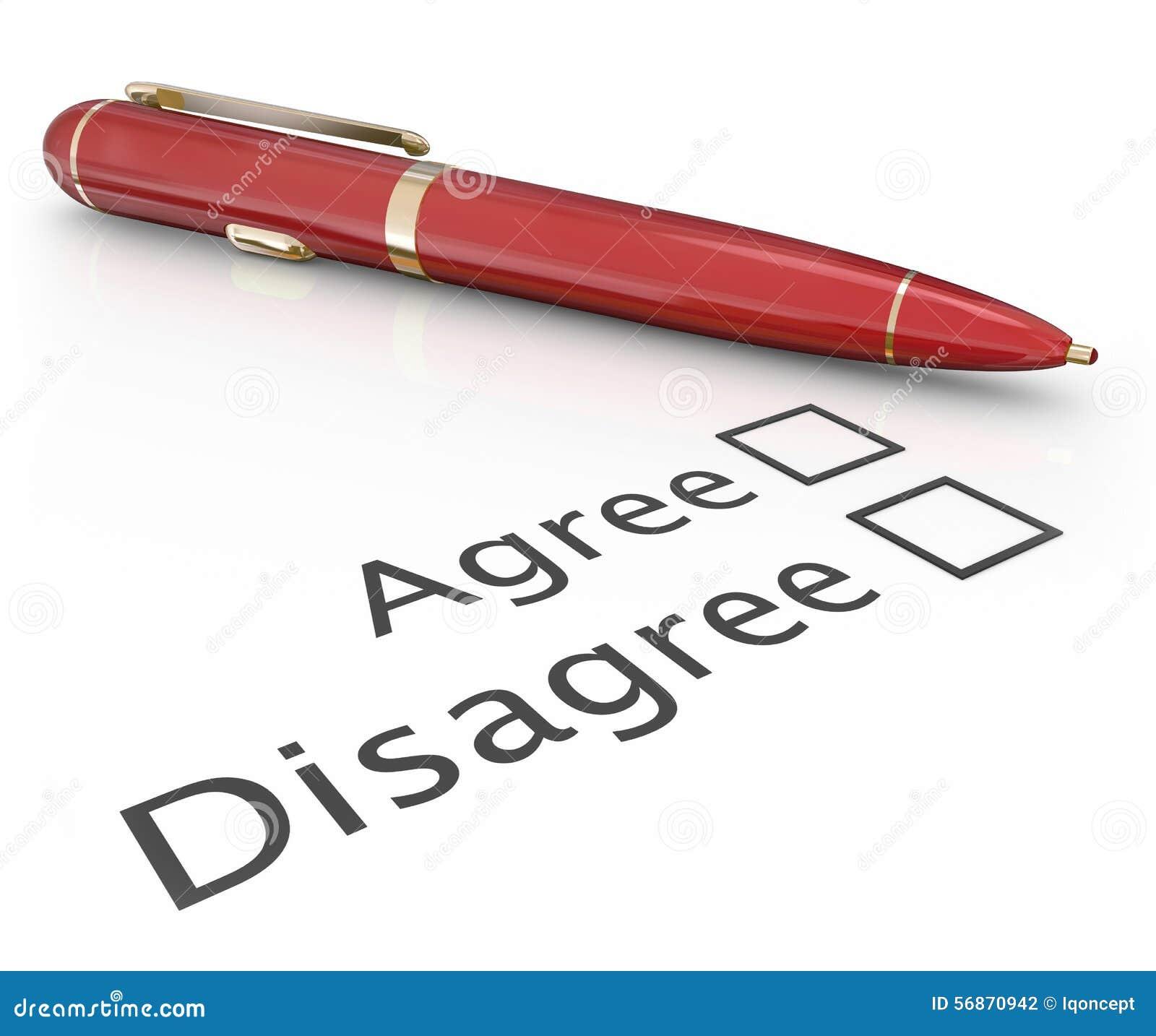 Convenez sont en désaccord Pen Voting Answer Choosing Yes aucune approbation Disapp