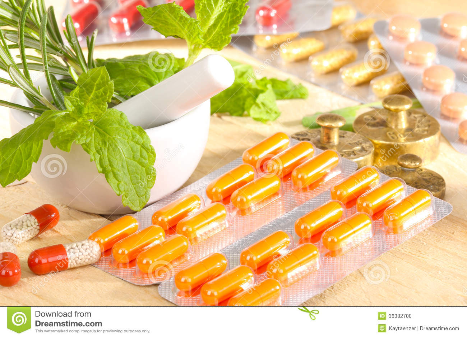 Conventional Medicine And Alternative Medicine Stock Photo