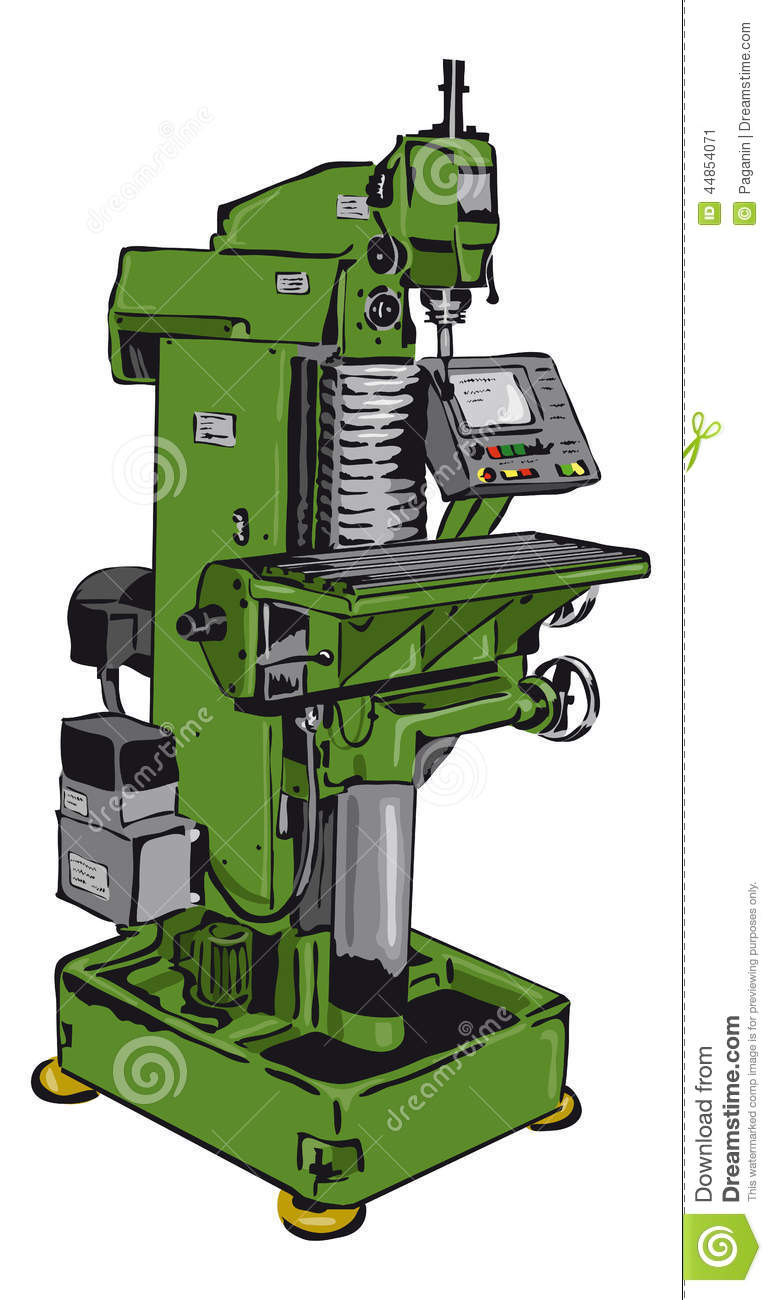 Conventional Milling Machine : Conventional milling machine stock vector image
