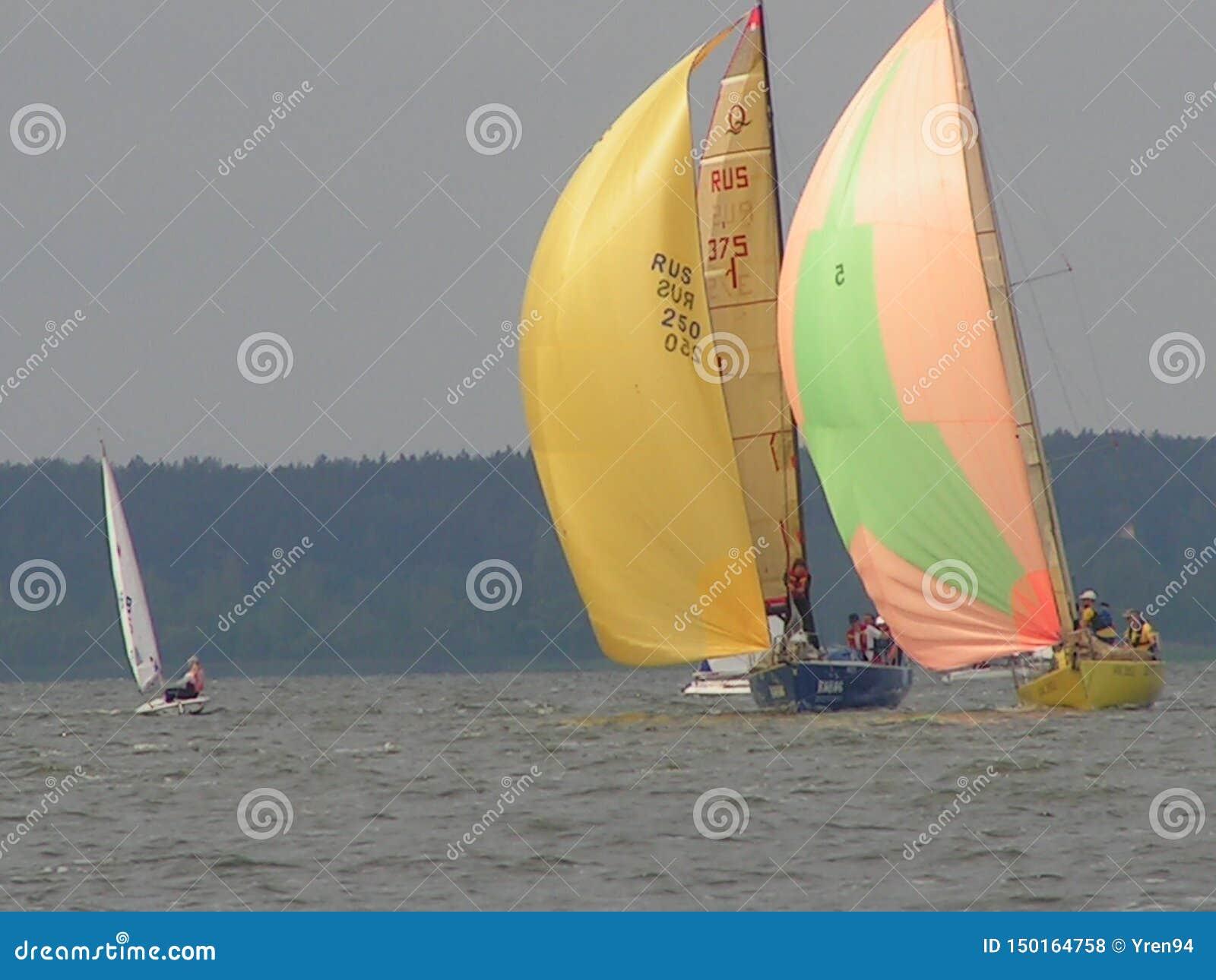 Convergence dangereuse des yachts Photo 1 de 14 Le réservoir république de Bielorussie de Zaslavskoe de mer de Minsk