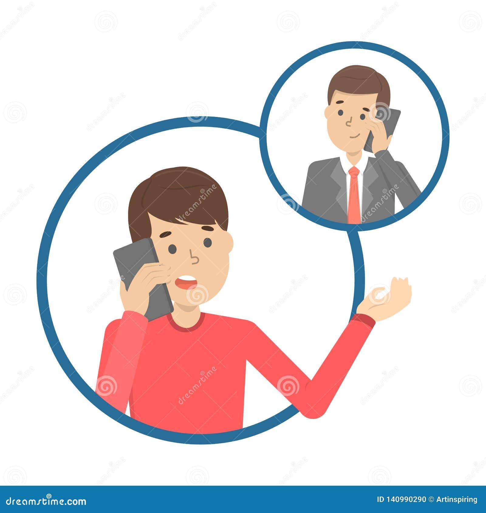 Conversação de telefone celular entre dois pessoas