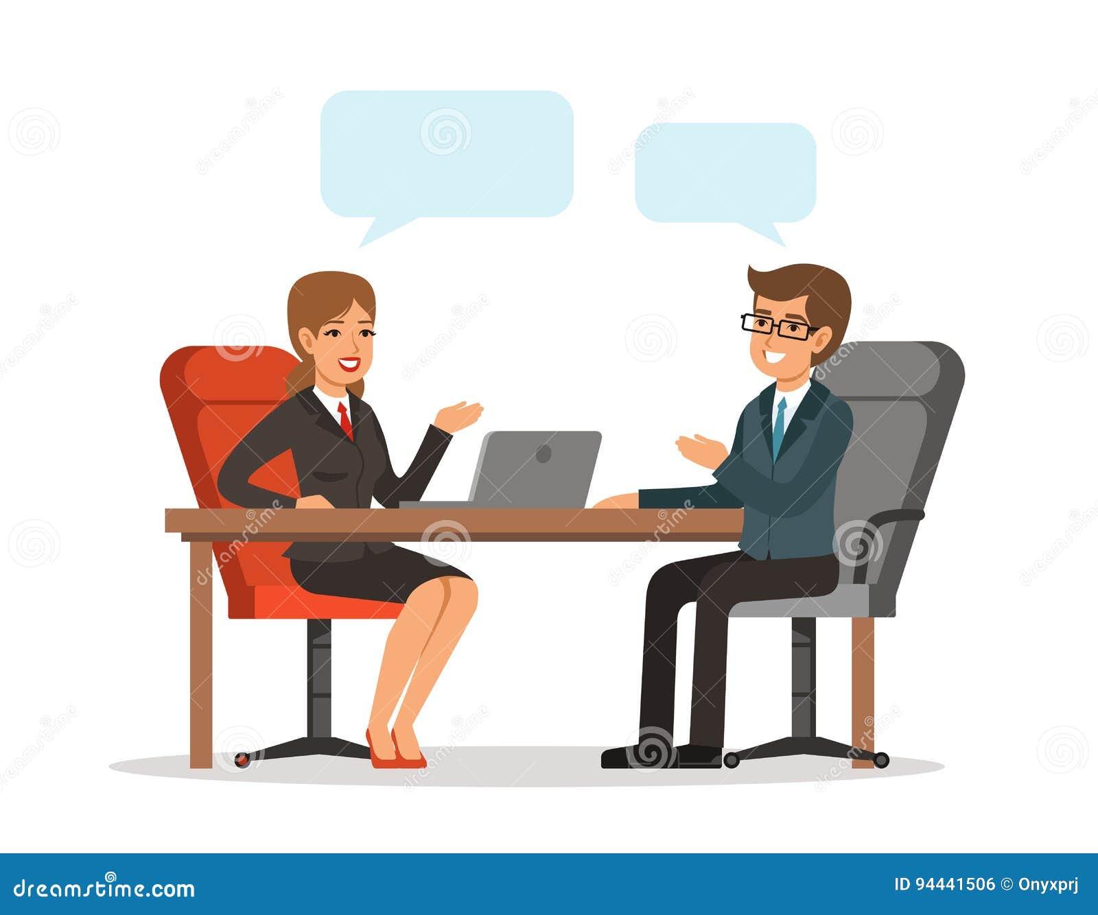 Conversação do negócio Homem e mulher na tabela Imagem do conceito do vetor no estilo dos desenhos animados