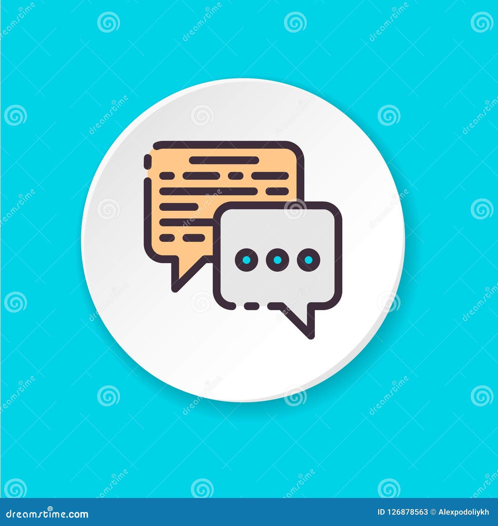 Conversação lisa do negócio do ícone do vetor Botão para a Web ou o app móvel