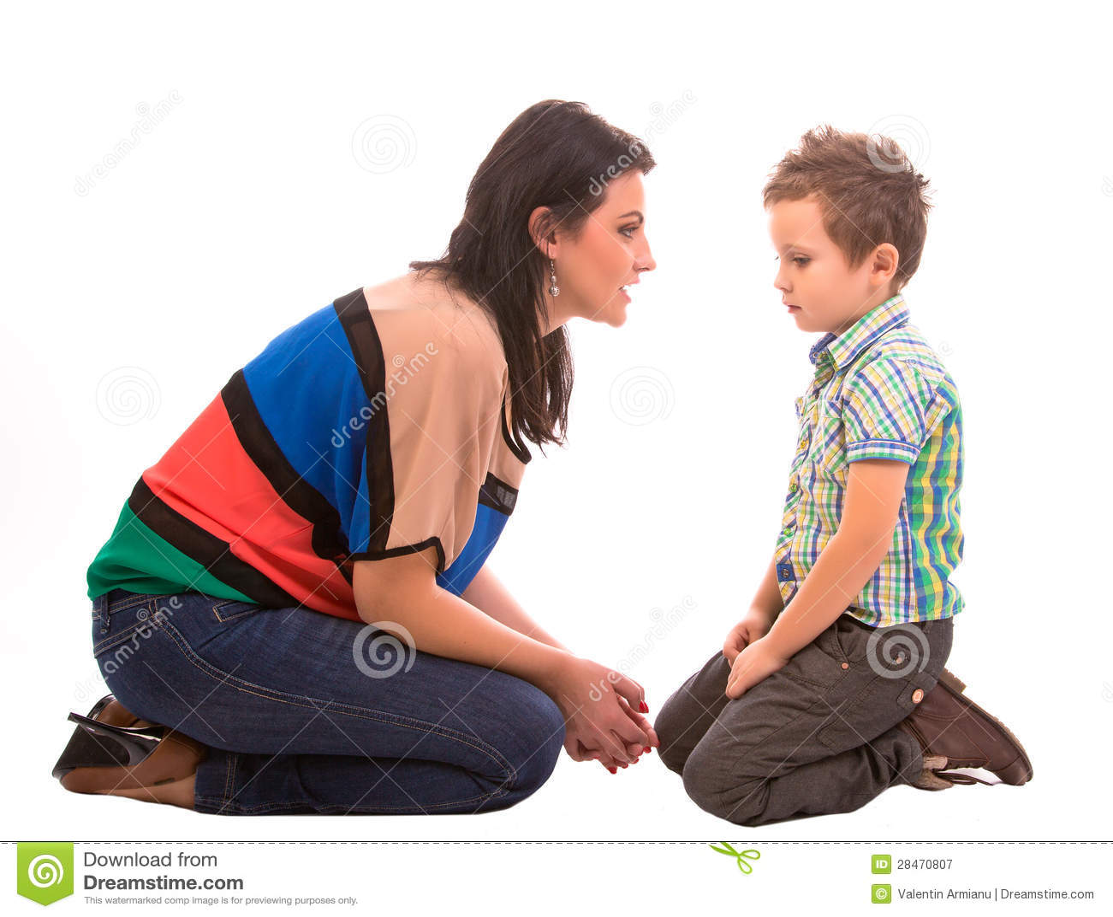 Conversación de la madre y del hijo