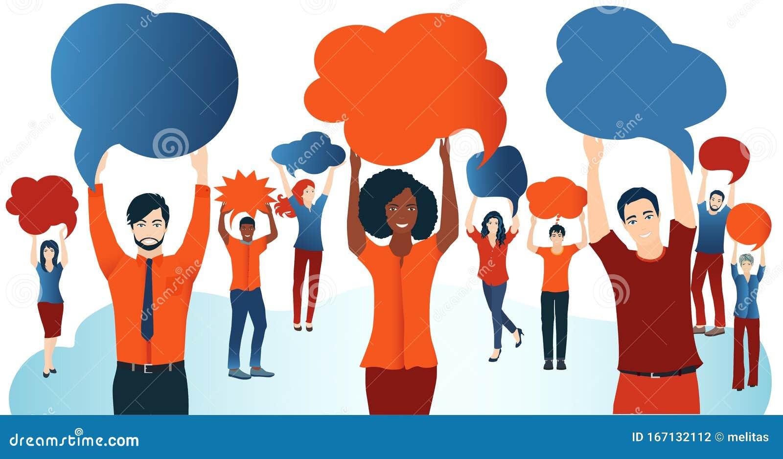 Conversaciones De La Multitud Grupo De Personas Diversas Con Burbujas De Habla Comunicación E Intercambio Red Social Compartir Id Foto De Archivo Imagen De Comunidad Cotilleo 167132112