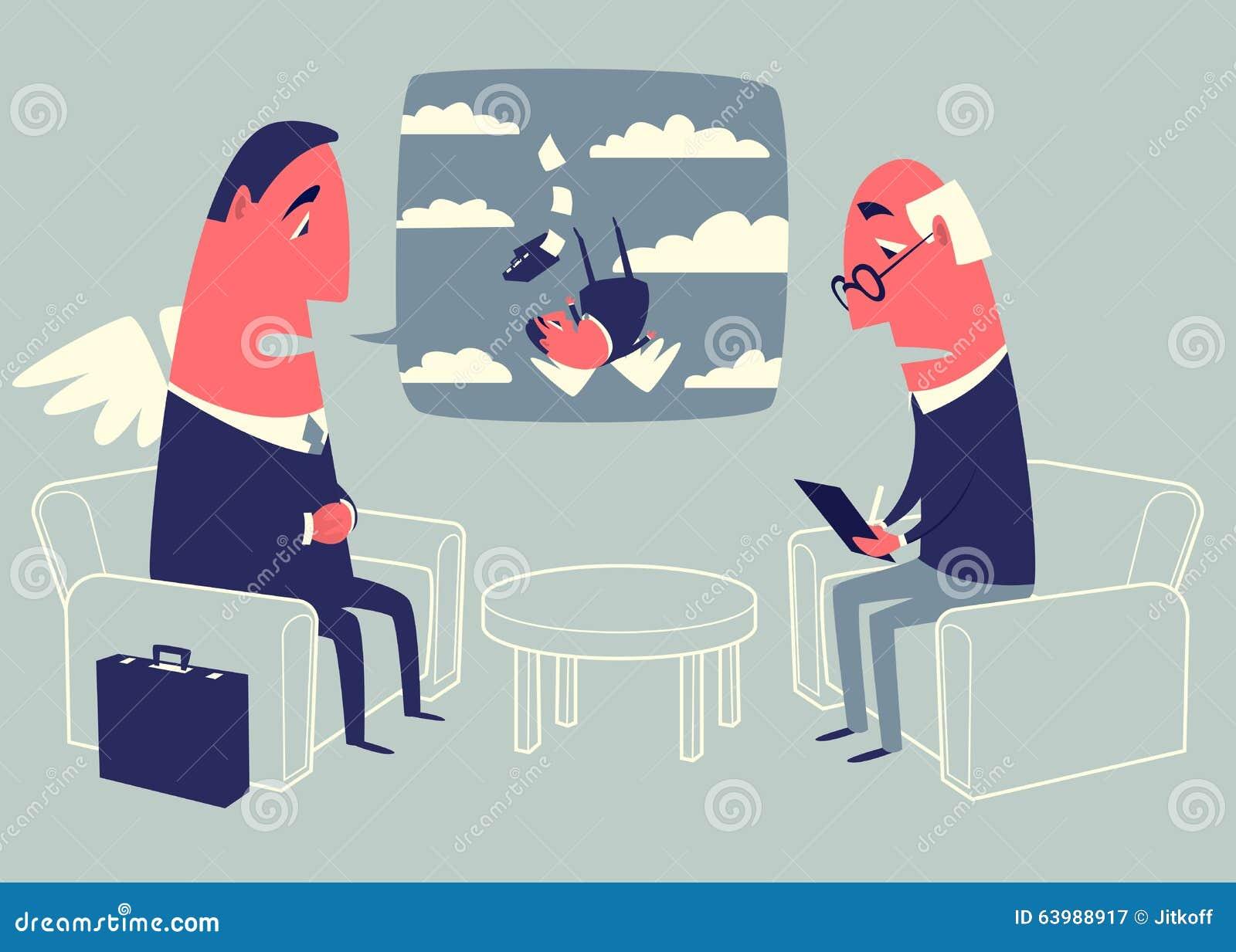 Conversation With A Psychologist Cartoon Vector