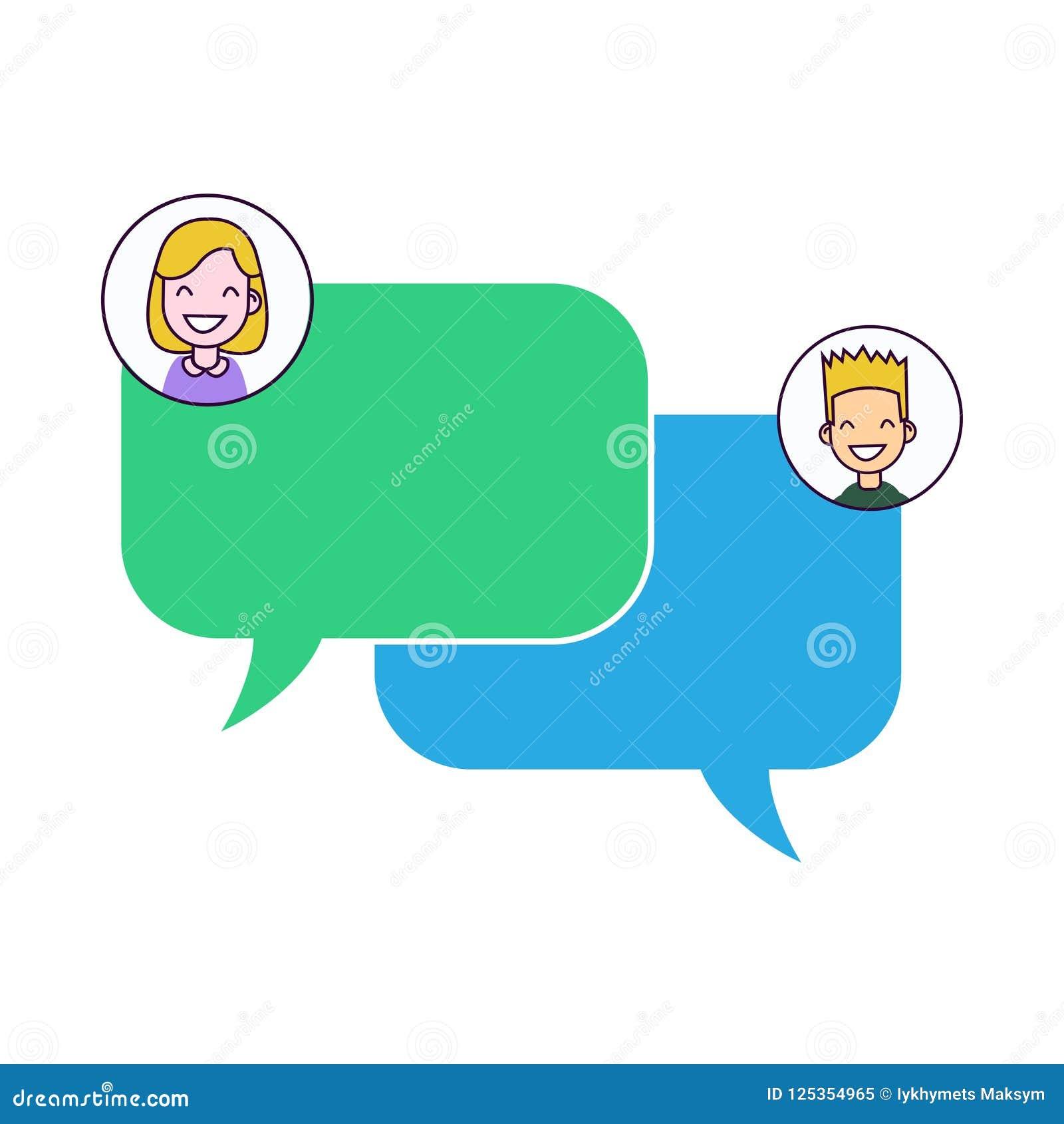 Converse a notificação das mensagens na ilustração do vetor do smartphone, bolhas lisas na tela do telefone celular, conversa dos