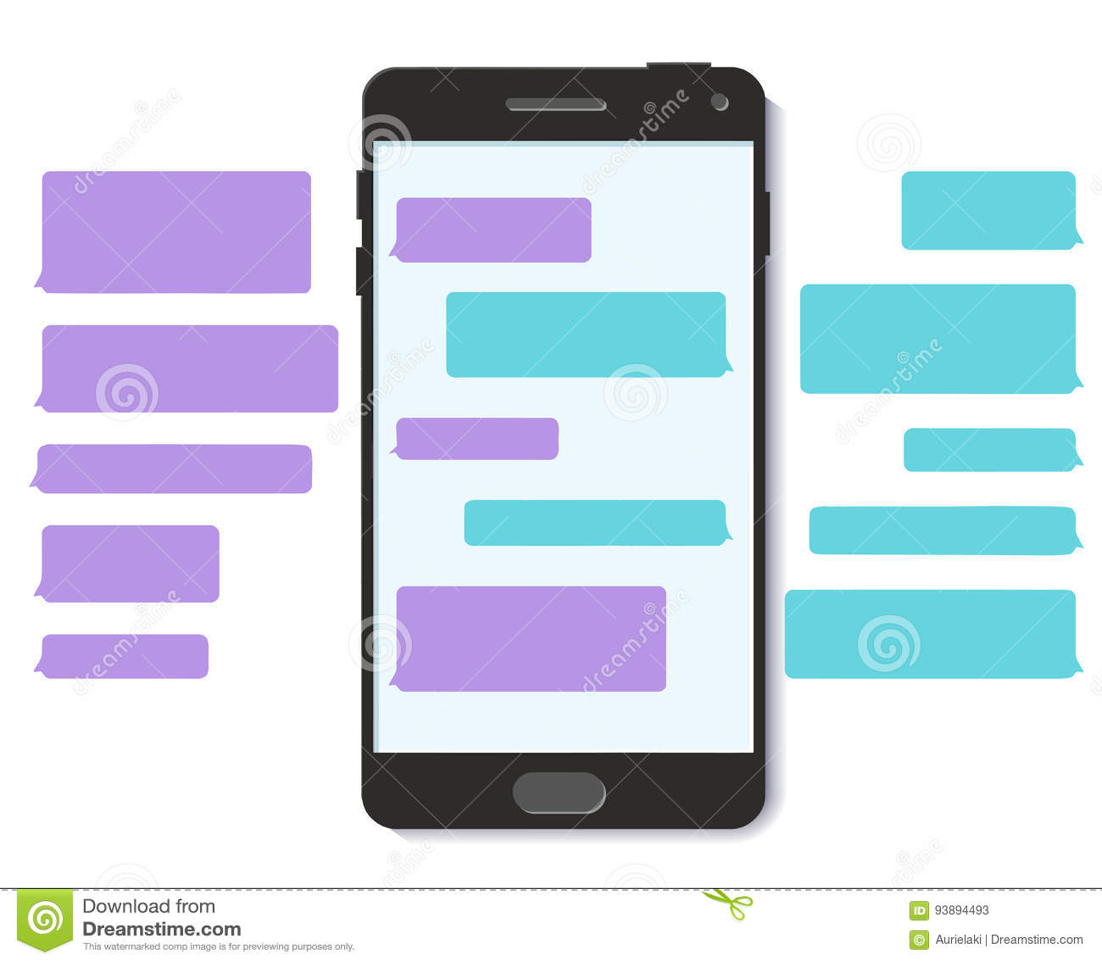 Converse a relação lisa do móbil do vetor da bolha 3D da mensagem de texto