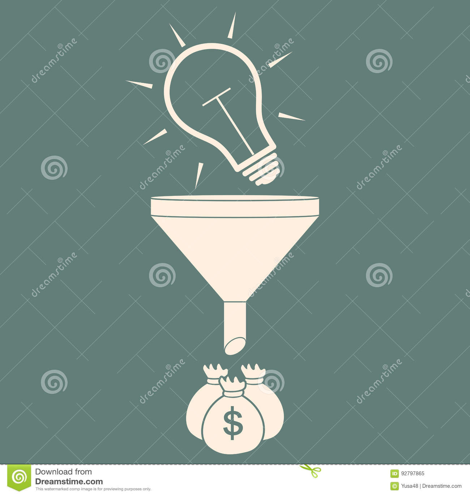 Convert The Idea Into Money  Concept Profit  Stock Vector