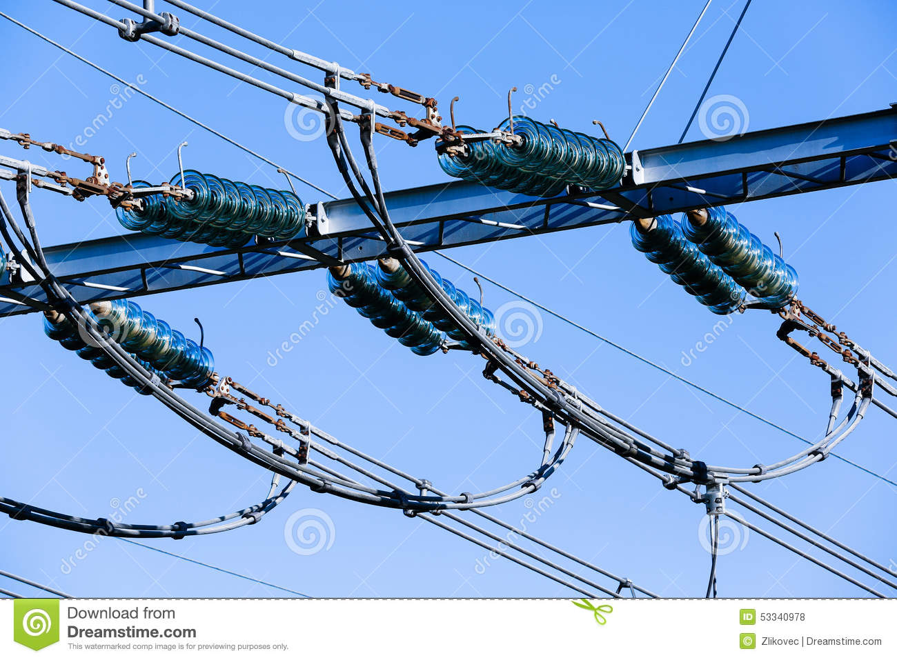Old Style Electrical Wiring And Insulators Against A Blue Sky ... on