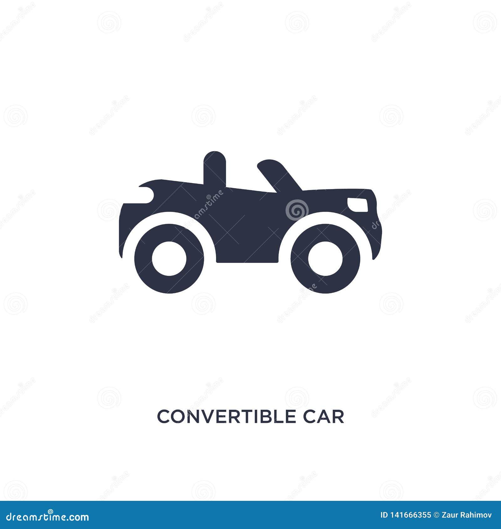 Convertibel autopictogram op witte achtergrond Eenvoudige elementenillustratie van mechaniconsconcept