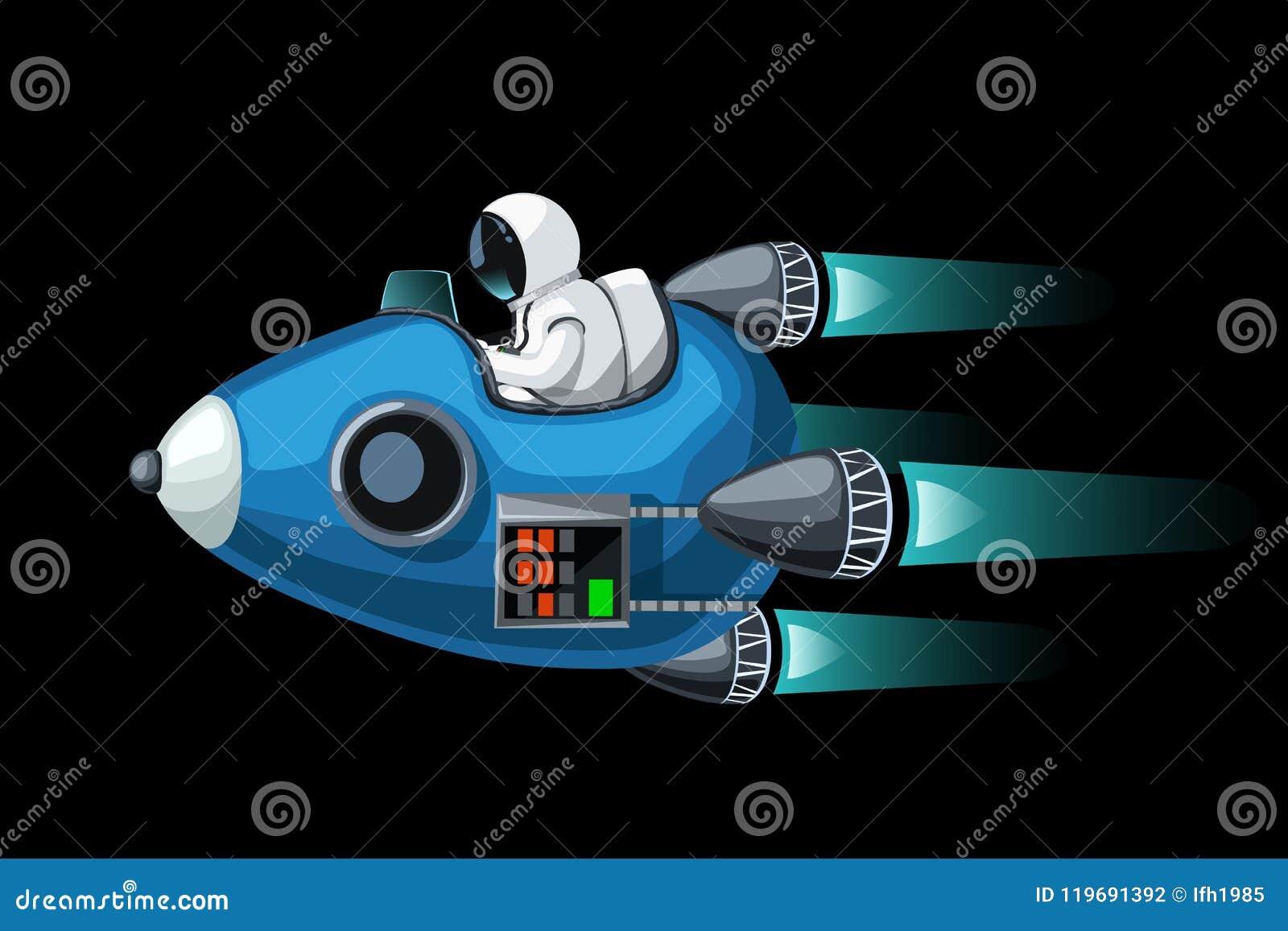 Convertibel ruimteschip op zwarte