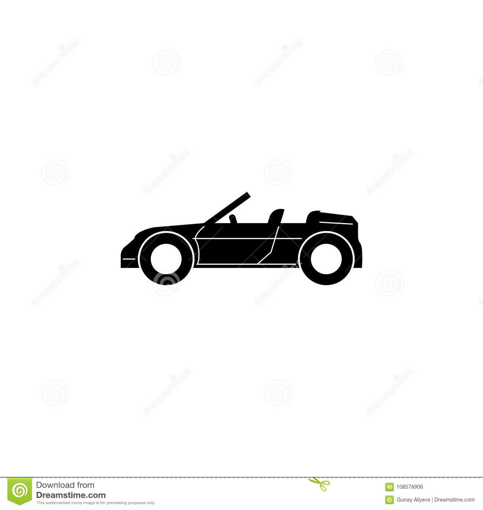 Convertibel Sportwagenpictogram Autotype eenvoudig pictogram Het pictogram van het vervoerelement Het grafische ontwerp van de pr