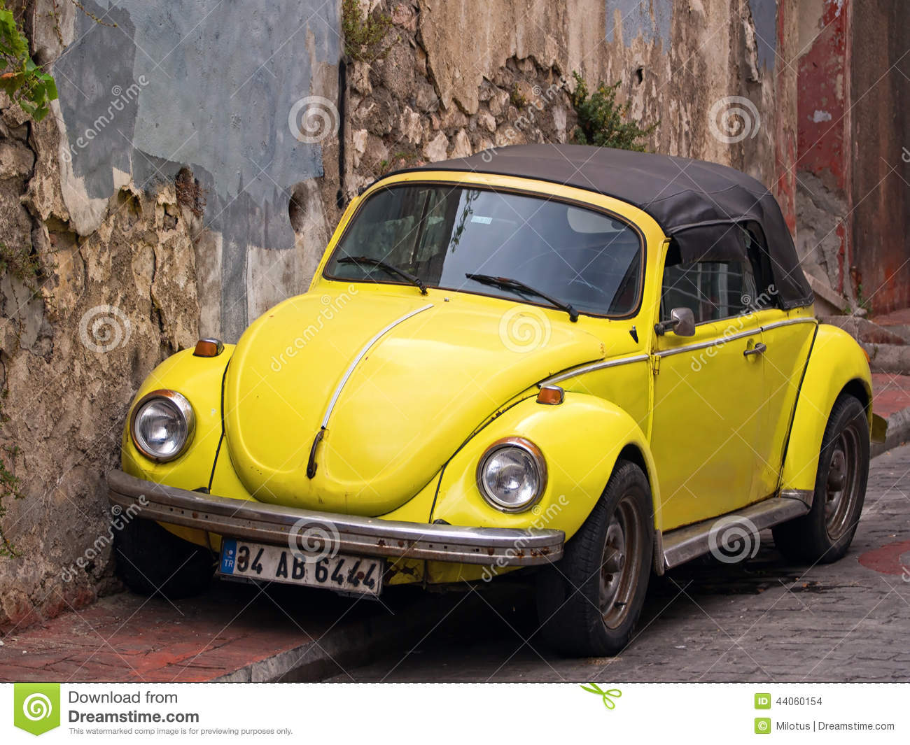 convertible yellow vw beetle editorial stock image image 44060154. Black Bedroom Furniture Sets. Home Design Ideas