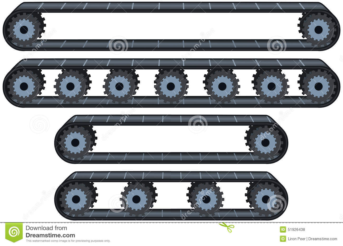 Vector illustration pack of four types of conveyor belt tracks with ...