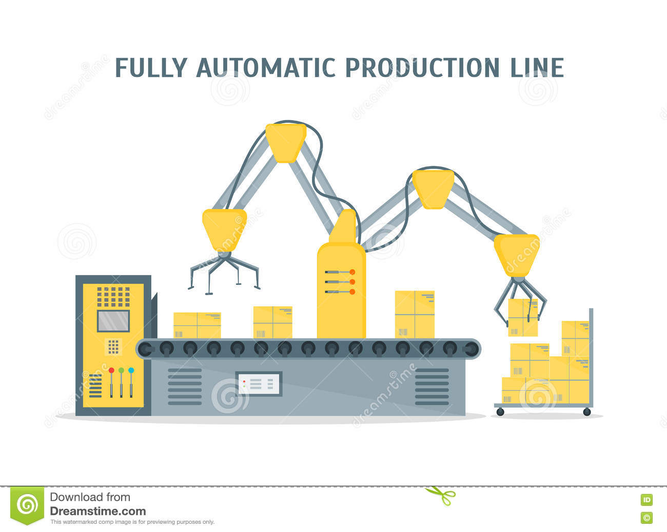Conveyor Fully Automatic Production Line. Vector Stock ...